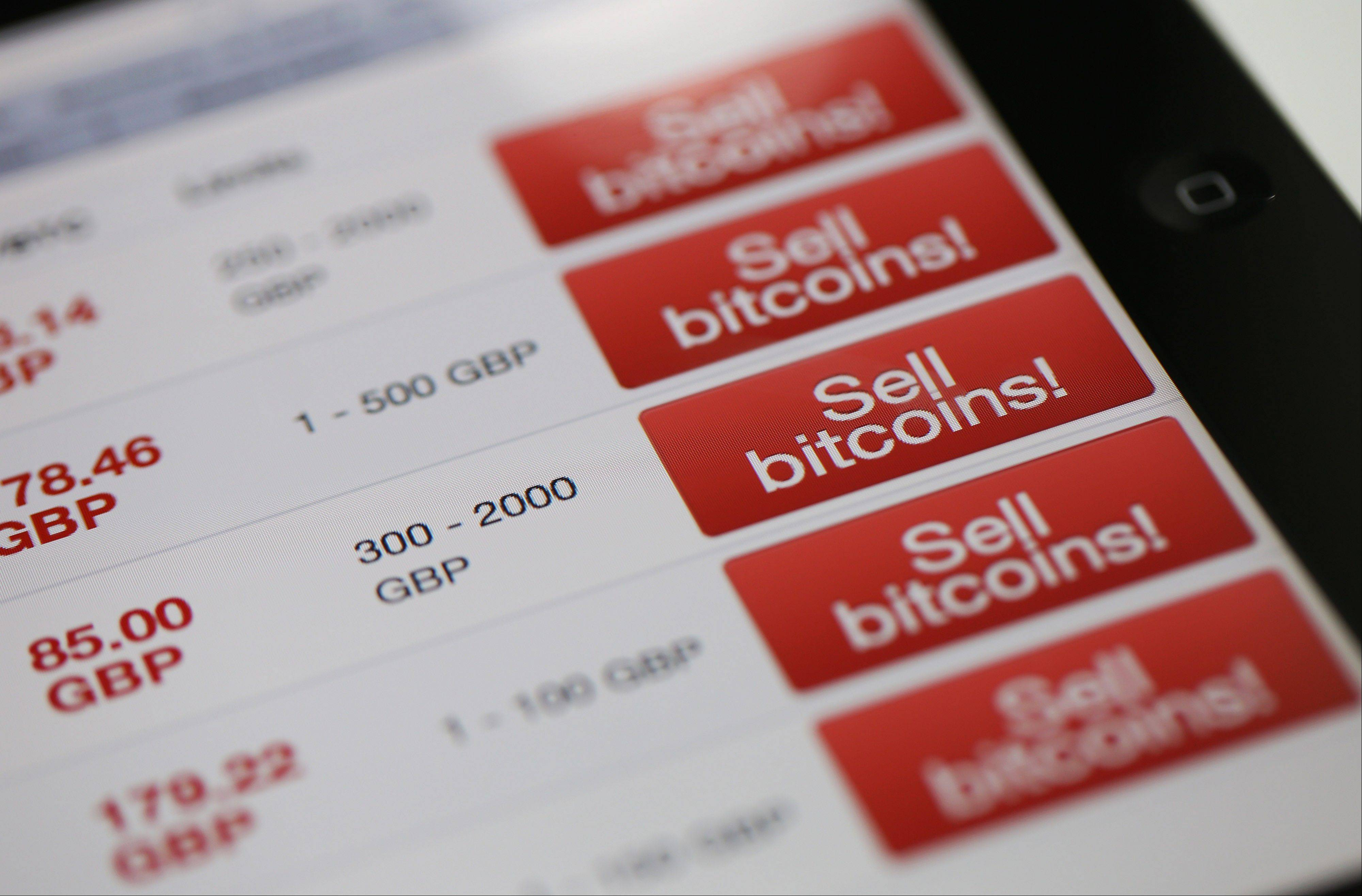 A computer screen displays Bitcoin currency exchange rates for the British pound on an internet website in London, U.K., on Wednesday, April 10, 2013.