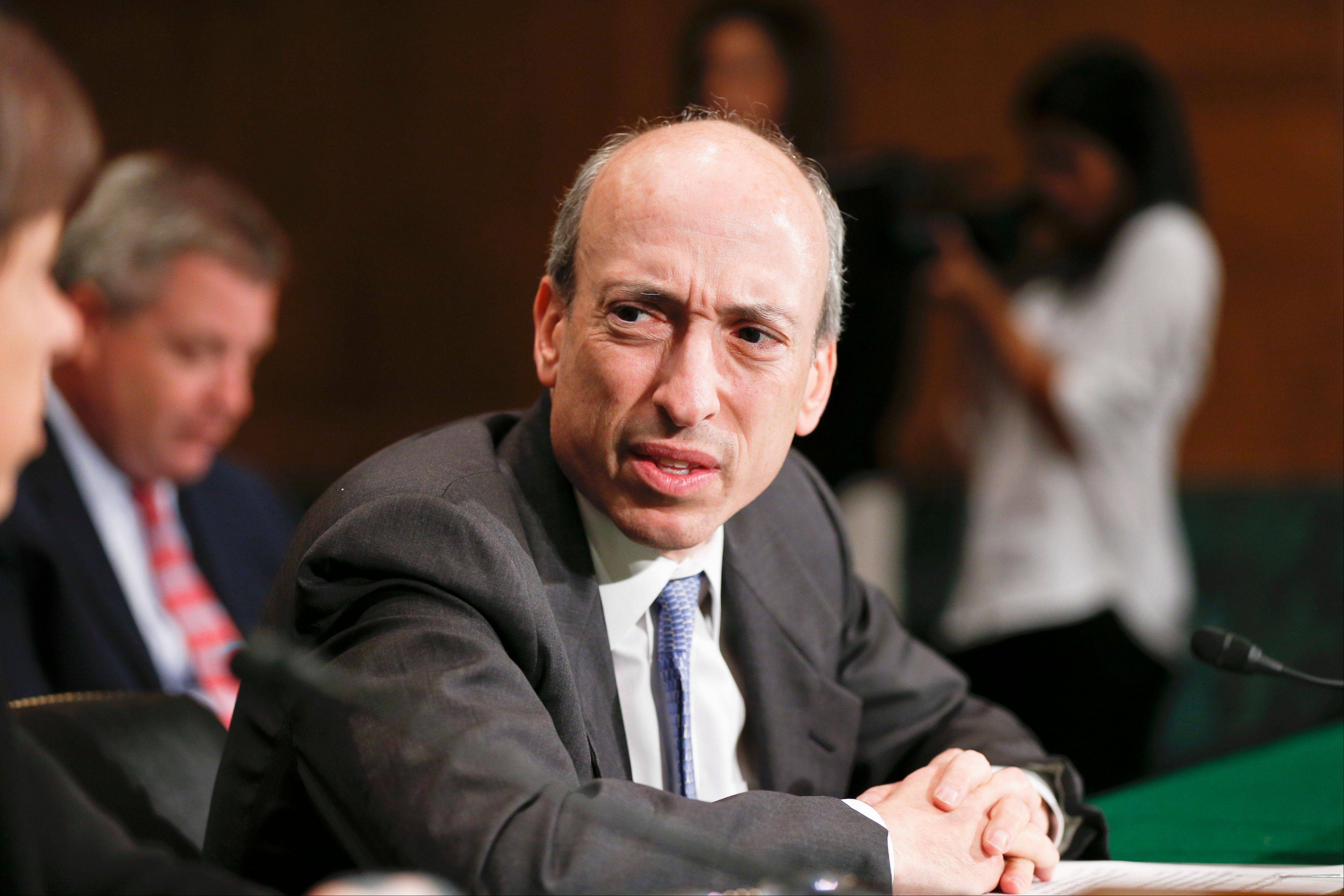Commodity Futures Trading Commission Chairman Gary Gensler testifies on Capitol Hill in Washington Tuesday before the Senate Banking Committee, as lawmakers examine how to mitigate systemic risk in financial markets through Wall Street reforms.