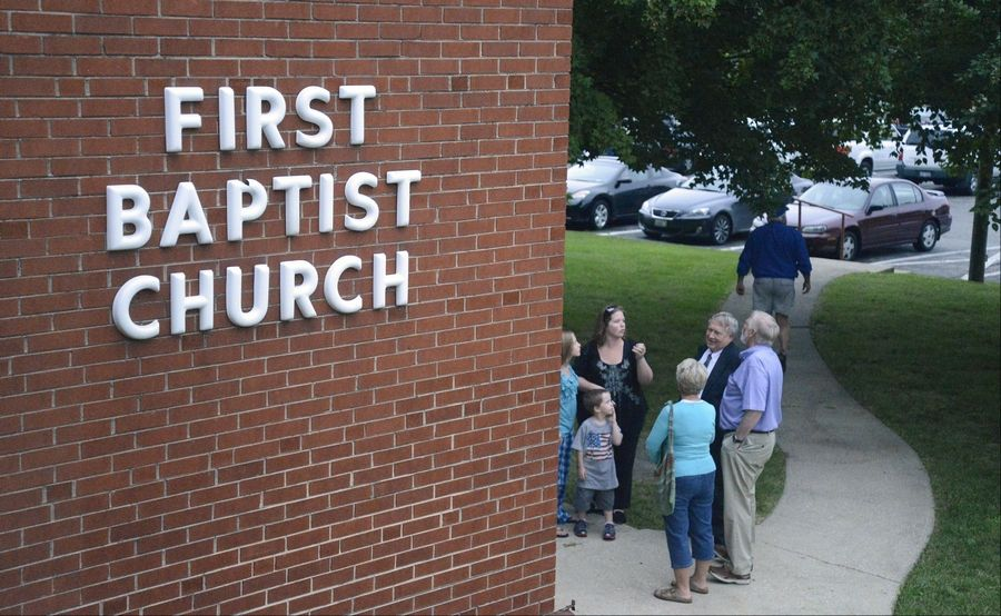Members of the public took self-guided tours of the First Baptist Church buildings at the intersection of Route 25 and Wilson Street in Batavia Tuesday. Demolition is being considered.