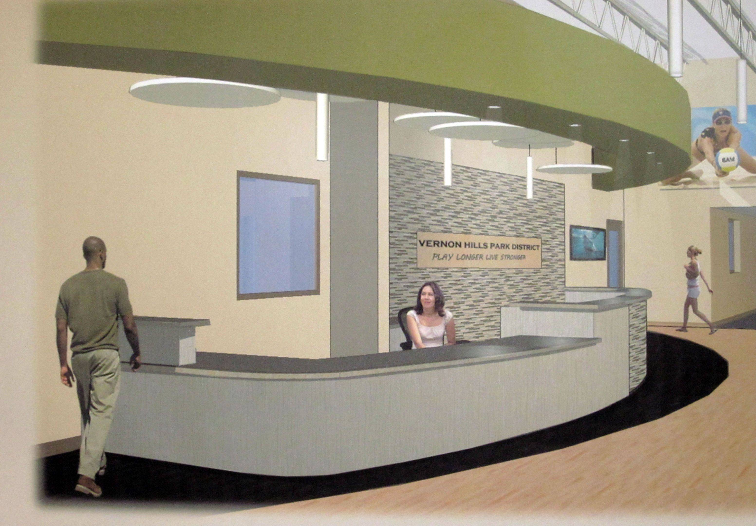 Extensive improvements at the former Central Lake YMCA in Vernon Hills include a new reception area at the entrance, to be relocated from the middle of the building.