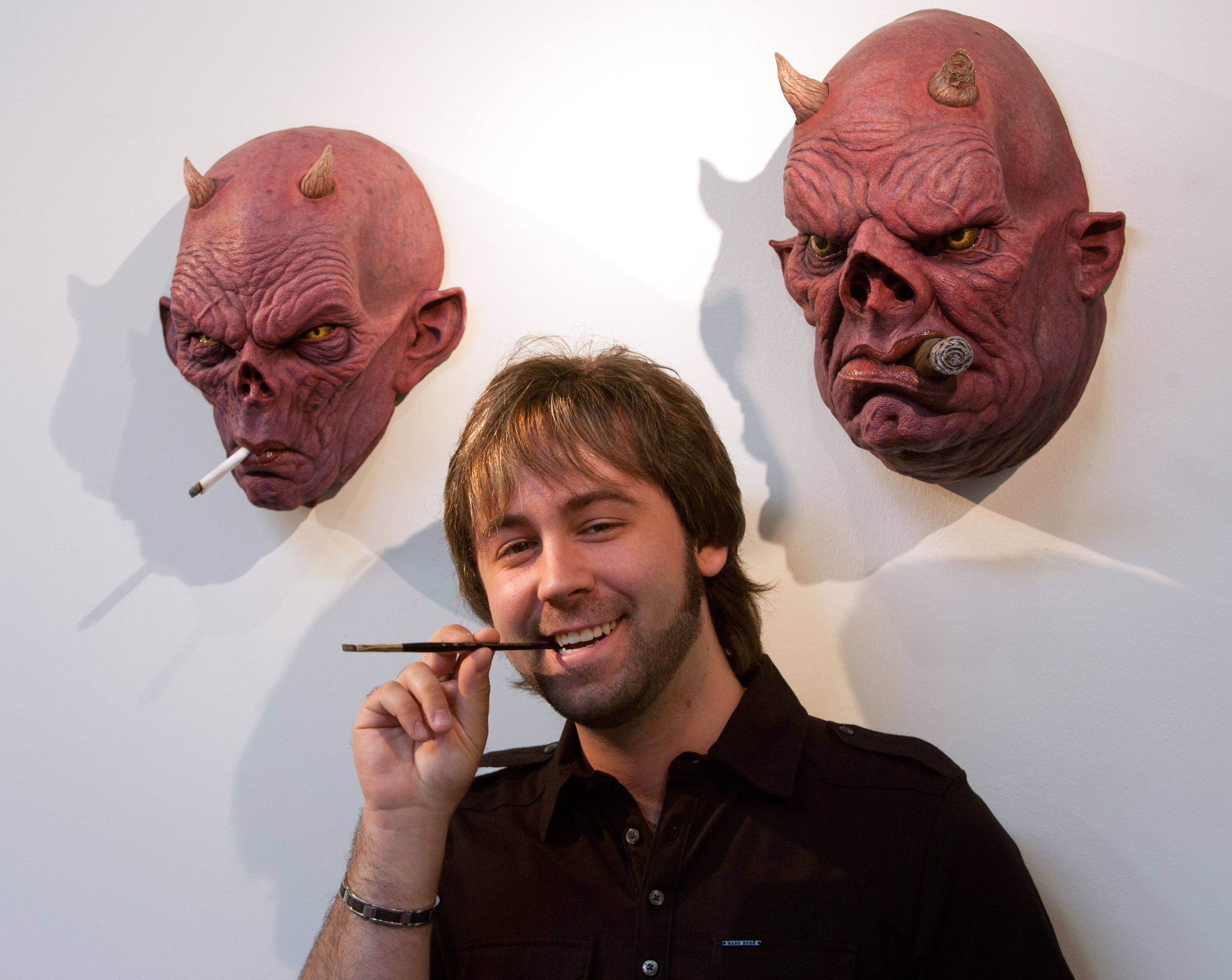"Special effects artist J. Anthony Kosar, winner of this year's ""Face Off"" competition on the Syfy network, relaxes in his Westmont studio."