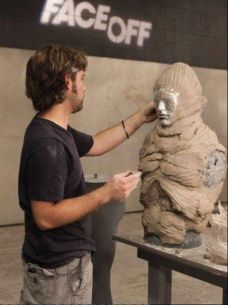"J. Anthony Kosar, of Lisle, works on one of his monsters during Syfy's ""Face Off"" special effects competition show earlier this year."