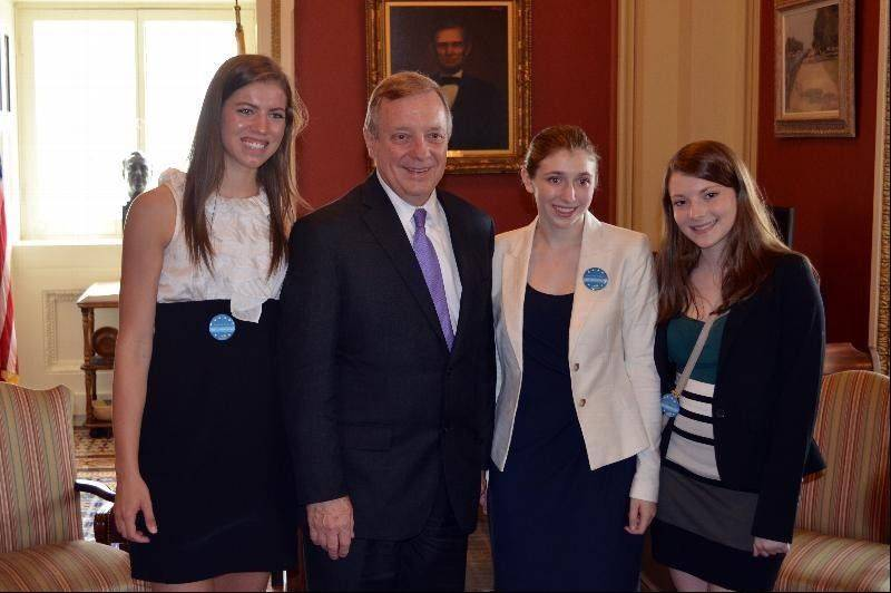 Senator Dick Durbin meets with Madeline Goetz of Ottawa and Hayley and Natalie Gray of Barrington, at the U.S. Capitol during the Cystic Fibrosis Foundation's Teen Advocacy Day, June 27.