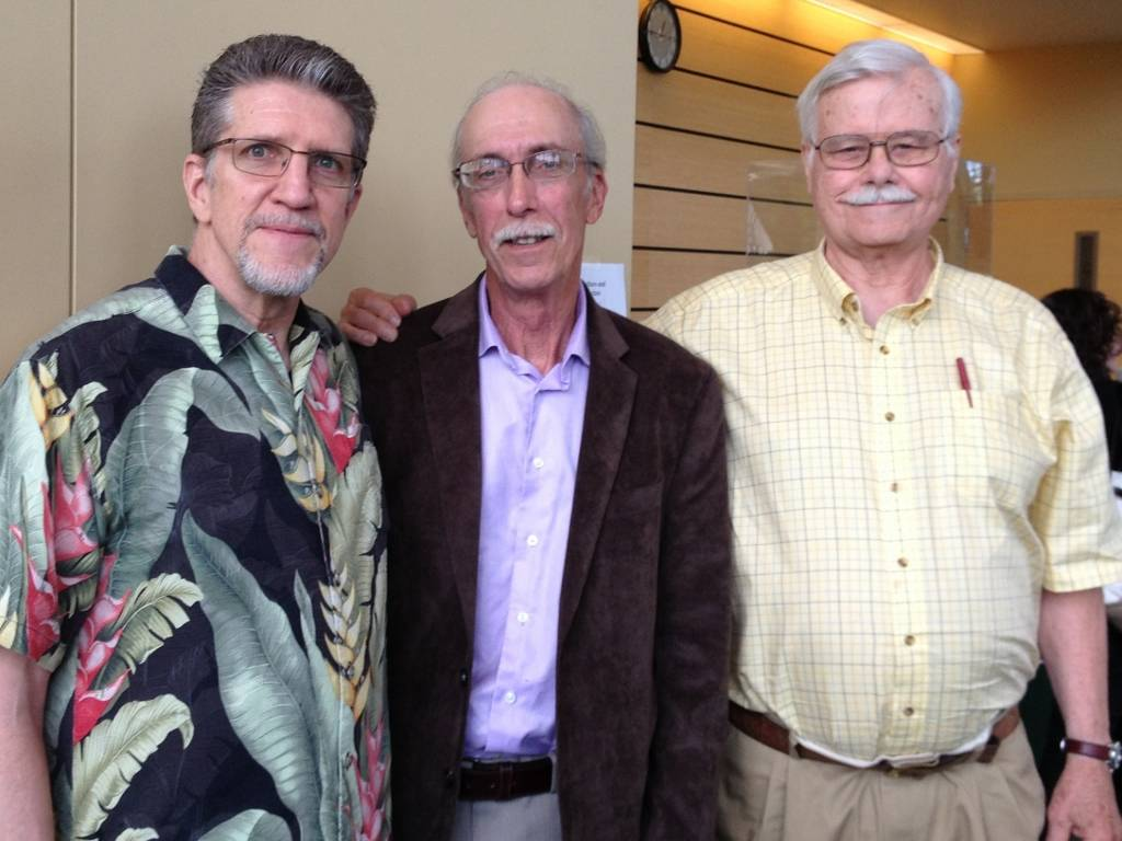 "Presentations by Tom Roberts, Ph.D., author of ""Psychedelic Future of the Mind"" (right); Bob Wold, founder of Cluster Busters (center); and Bruce Sewick, LCPC, RDDP, CADC, an adjunct faculty member who teaches a course called ""Psychedelic Mindview"" at COD."
