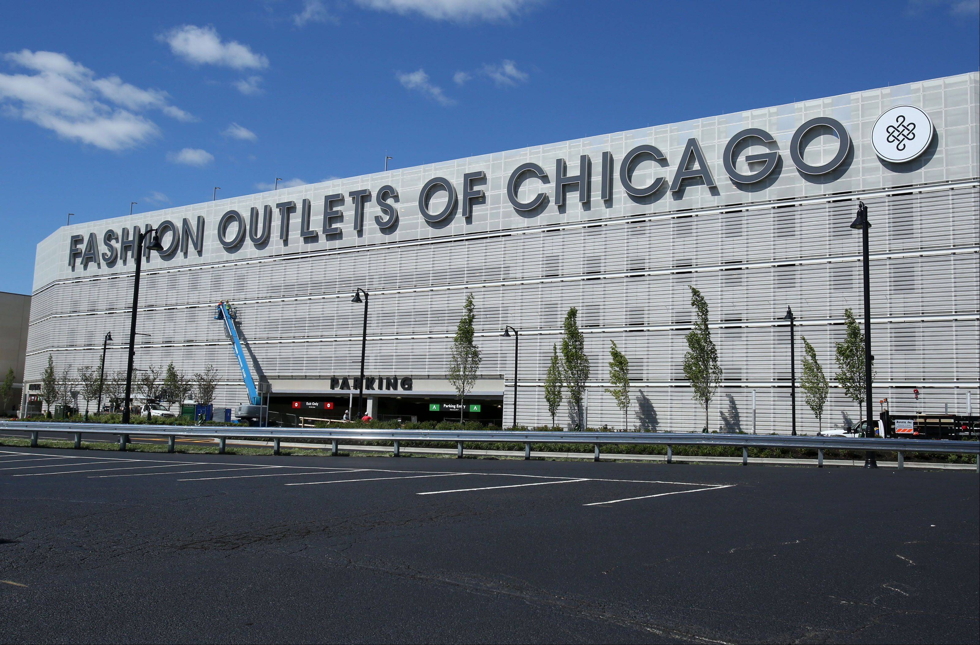 This is an exterior view of Fashion Outlets of Chicago, which opens Thursday in Rosemont.