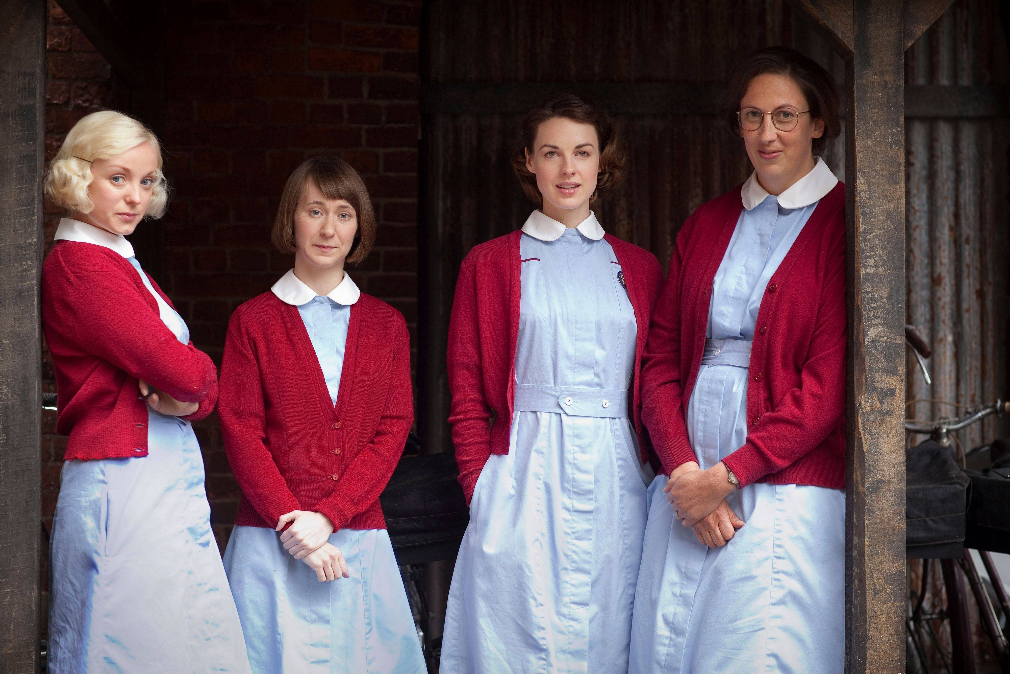 "Trixie Franklin, Cynthia Miller, Jenny Lee and Chummy Noakes from the PBS series ""Call the Midwife."""