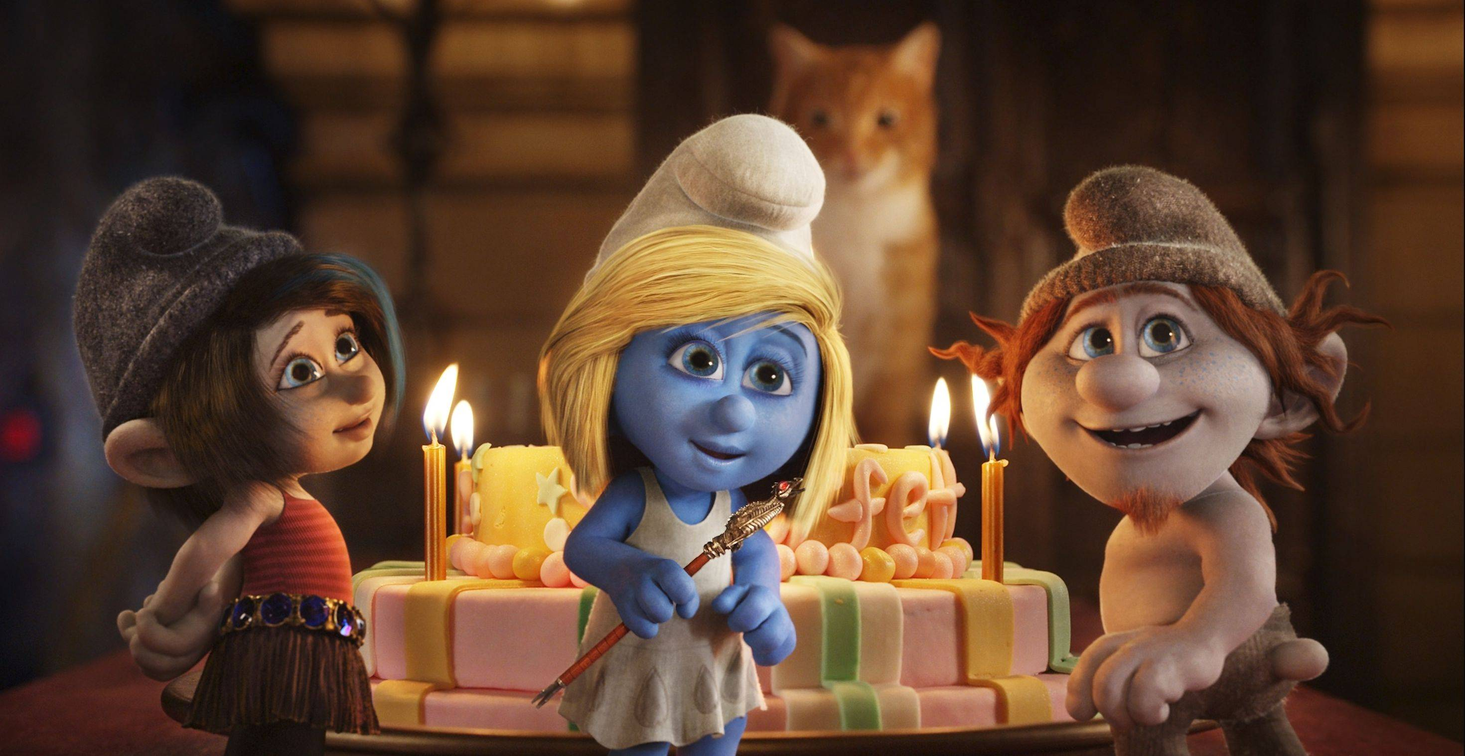 "Smurfette (Katy Perry), center, becomes involved in a mad plan to take over the world in the 3-D animated sequel ""Smurfs 2."""