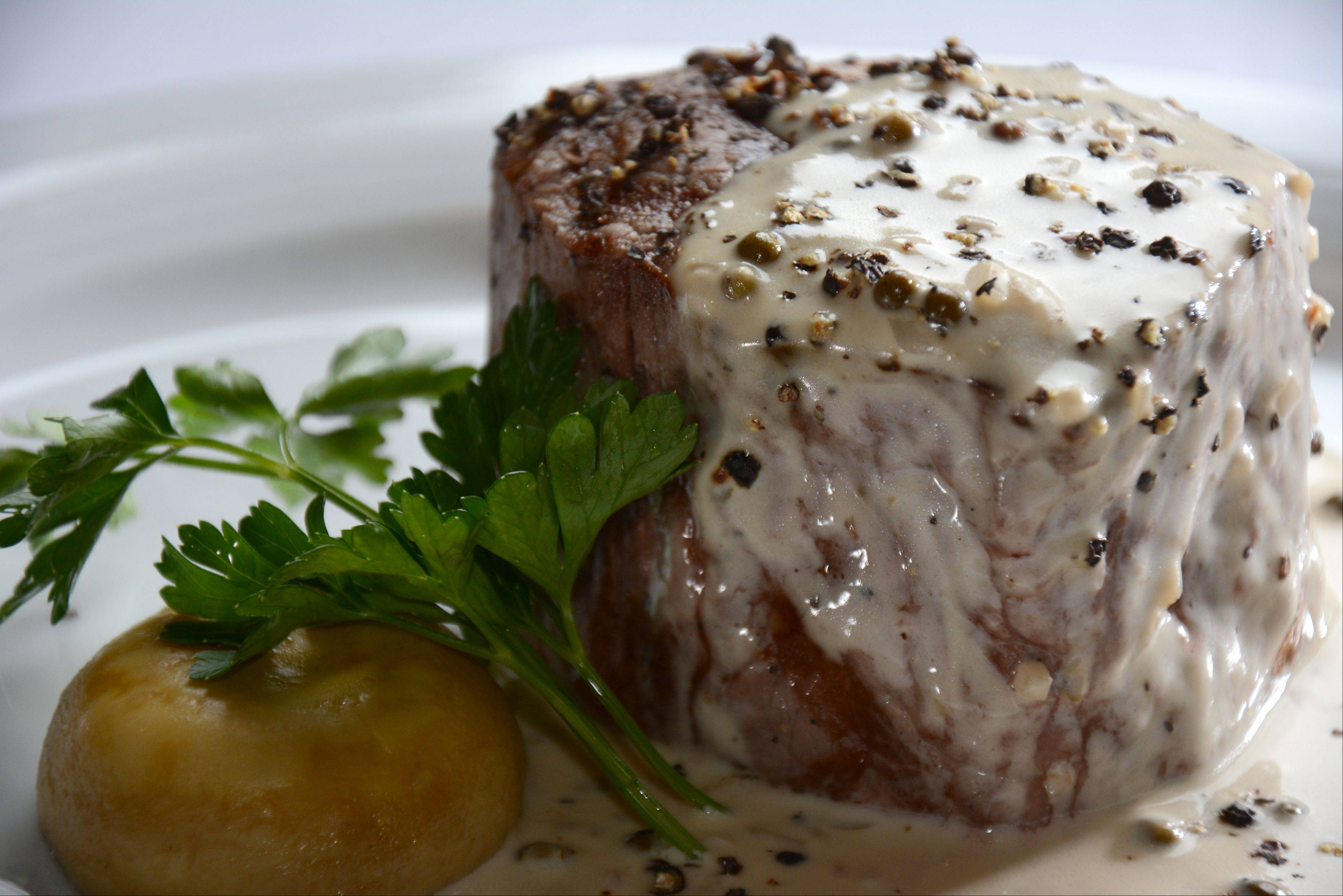 Filet au poivre is one of the many fine cuts of beef at Vidalia Steakhouse in Schaumburg.