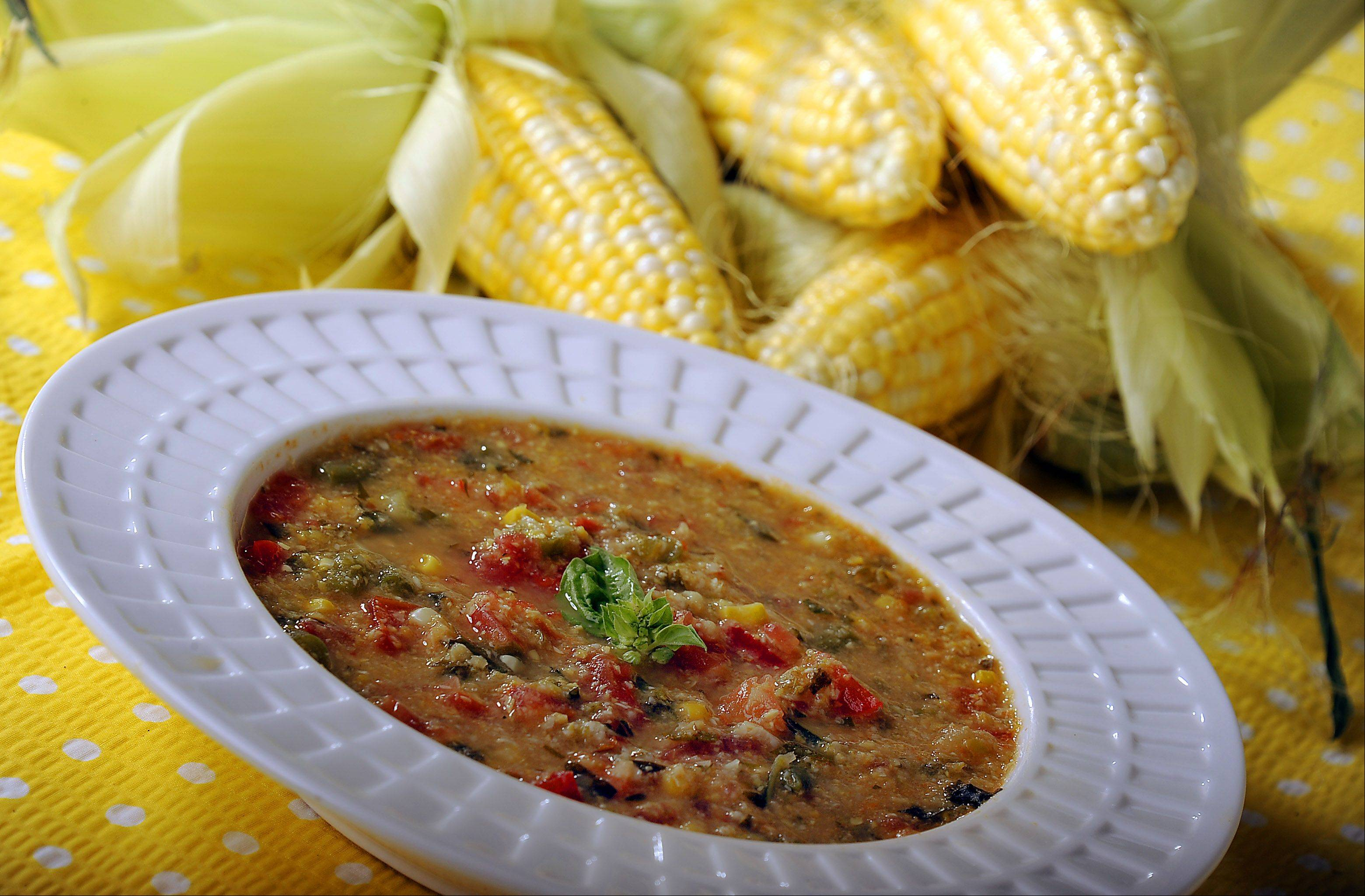 Soup is an easy way to use up summer vegetables like corn, summer squash, peppers and beans.