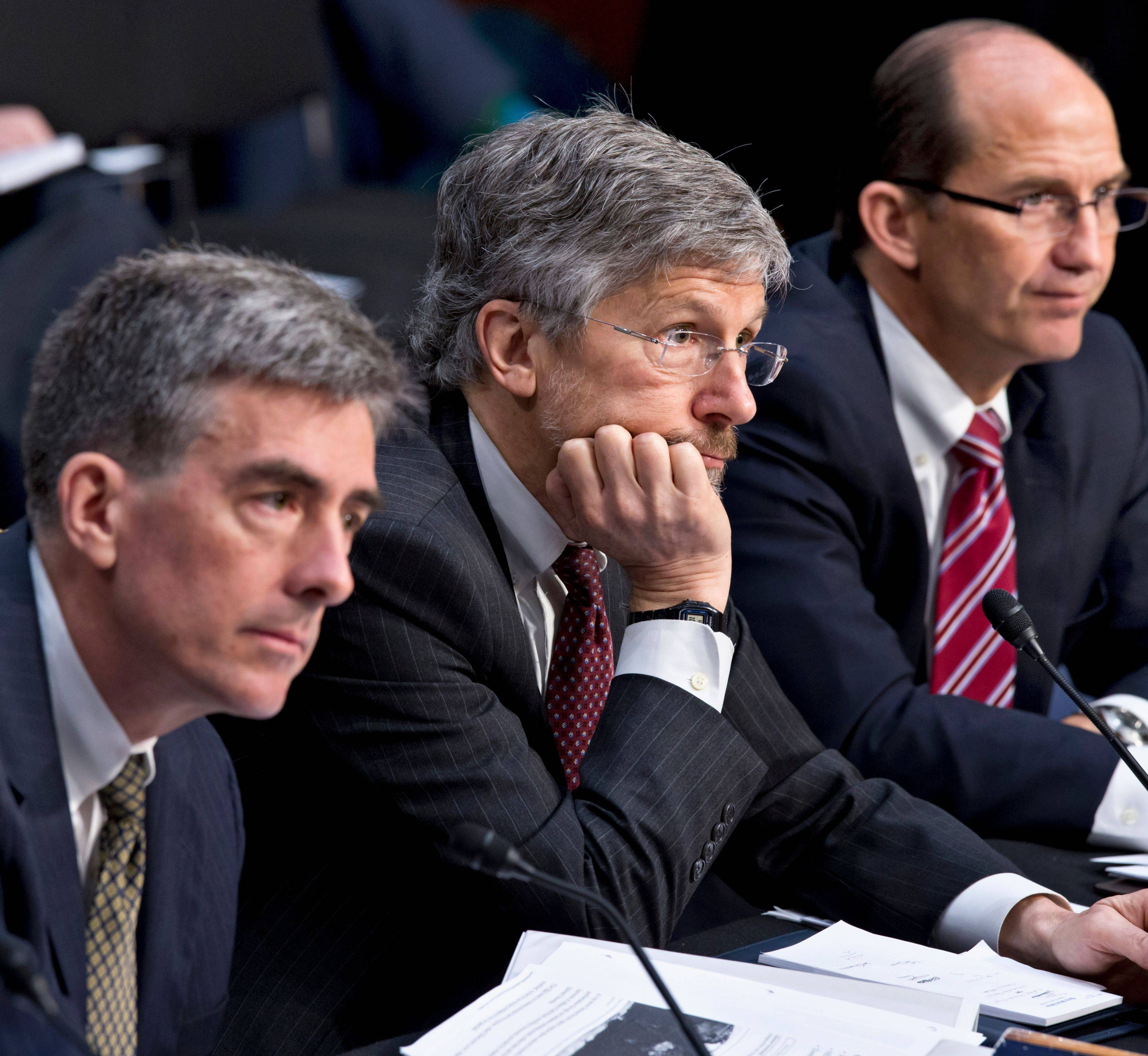 From left, National Security Agency Deputy Director John C. Inglis; Robert Litt, general counsel in the Office of Director of National Intelligence; and Sean Joyce, deputy director of the FBI, testify on Capitol Hill Wednesday.