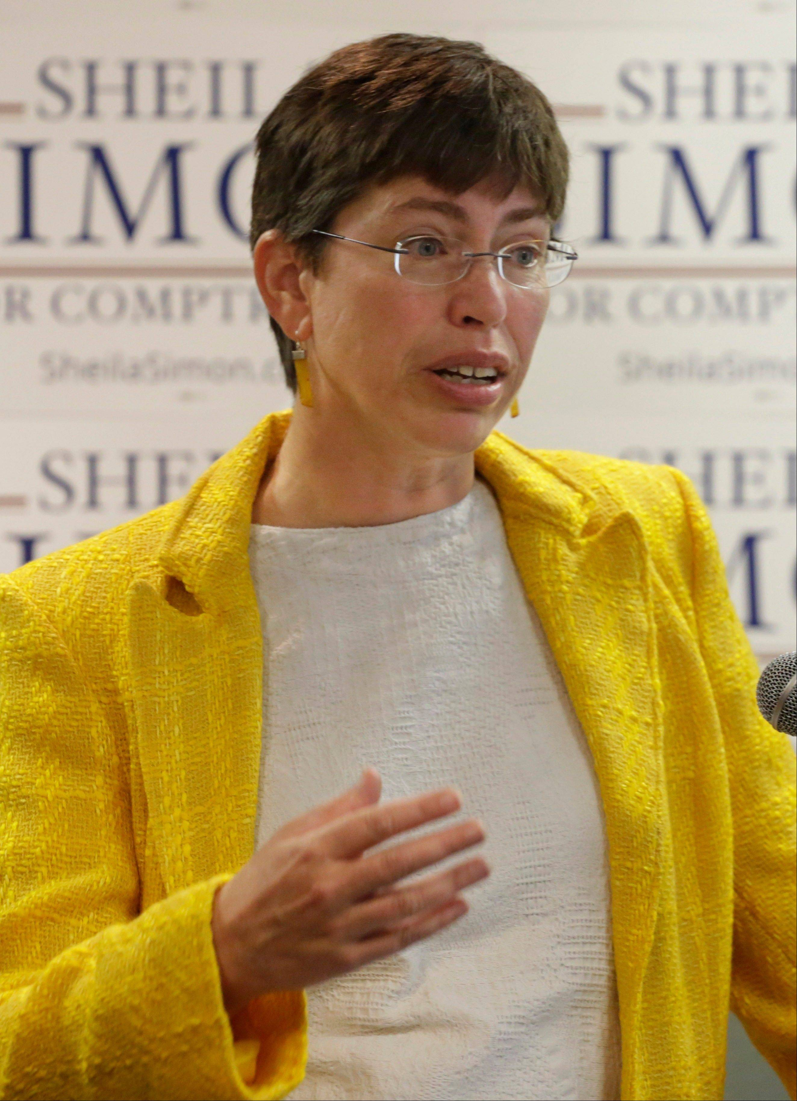 Lt. Gov. Sheila Simon announces her candidacy for state comptroller at a news conference Wednesday in Chicago.