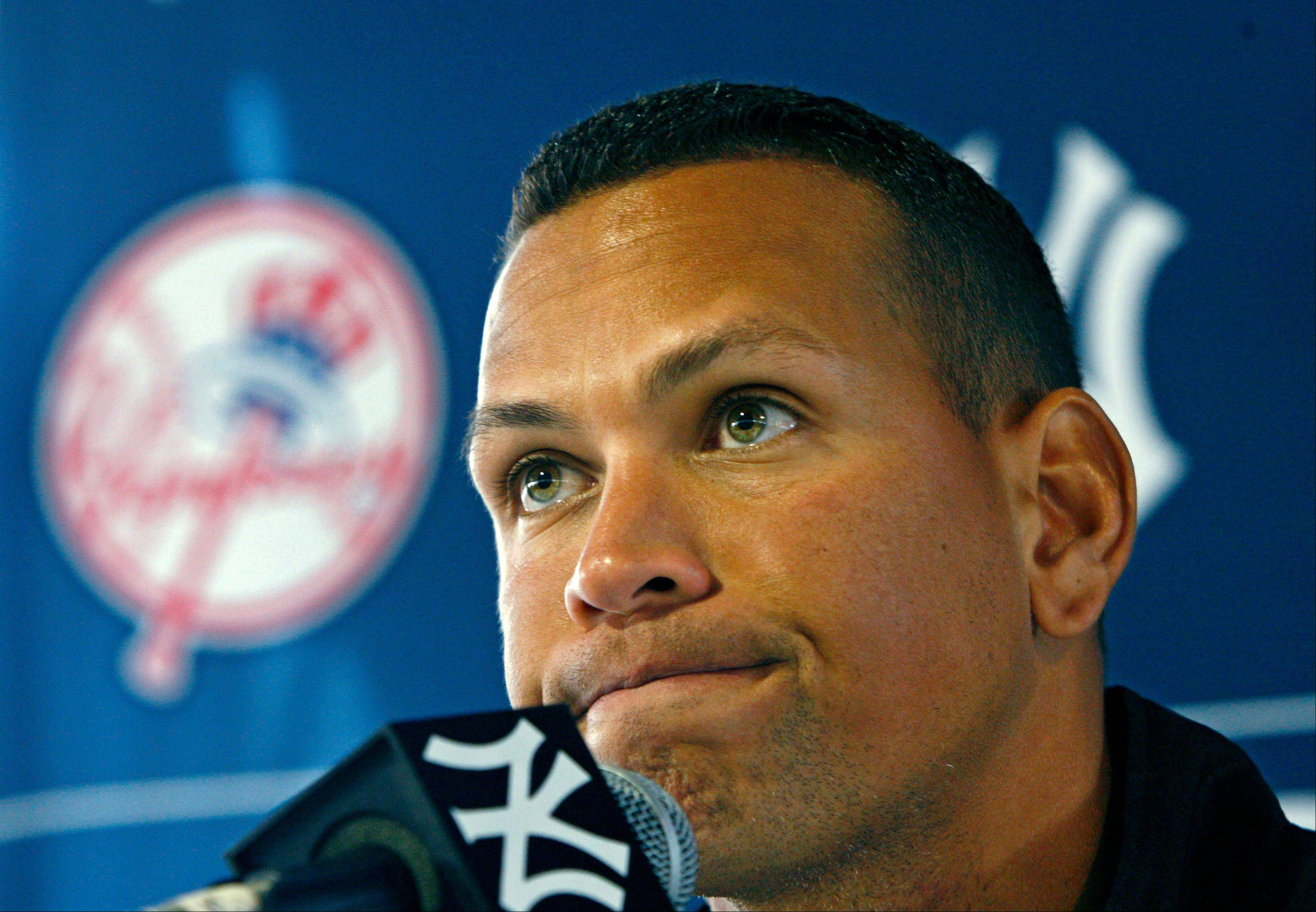 In this Feb. 25, 2010, file photo, New York Yankees' Alex Rodriguez speaks at a news conference during baseball spring training at Steinbrenner Field in Tampa, Fla.†Major League Baseball has told the union which players it intends to suspend in its drug investigation and which ones will receive lengthier penalties for their roles in the Biogenesis case.