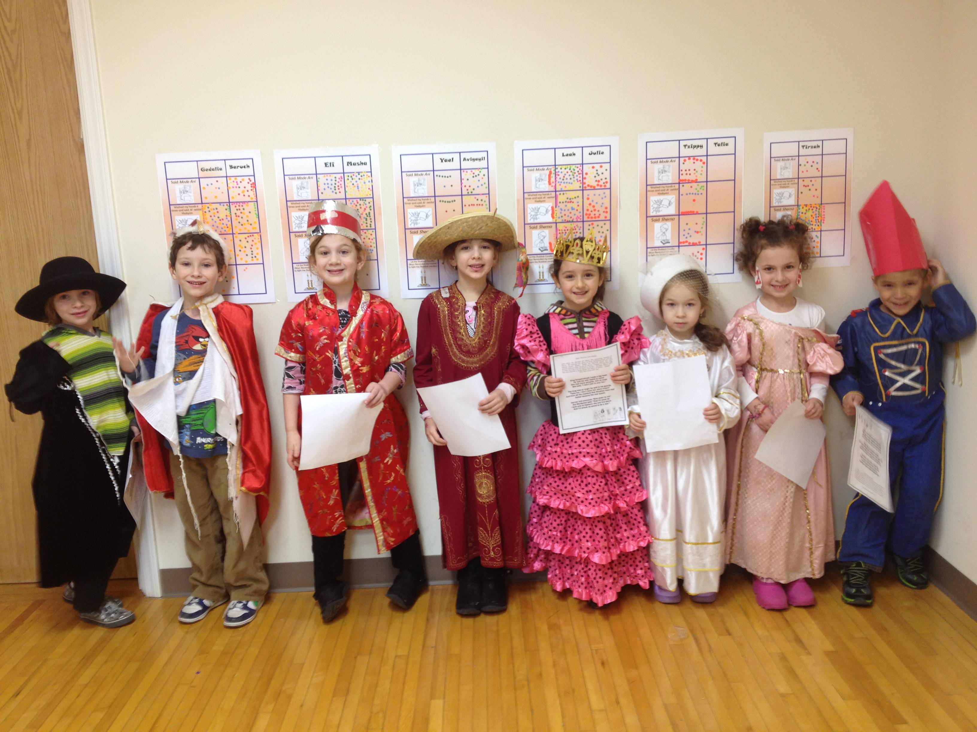 The youngest HS class dressed up in Purim costumes!