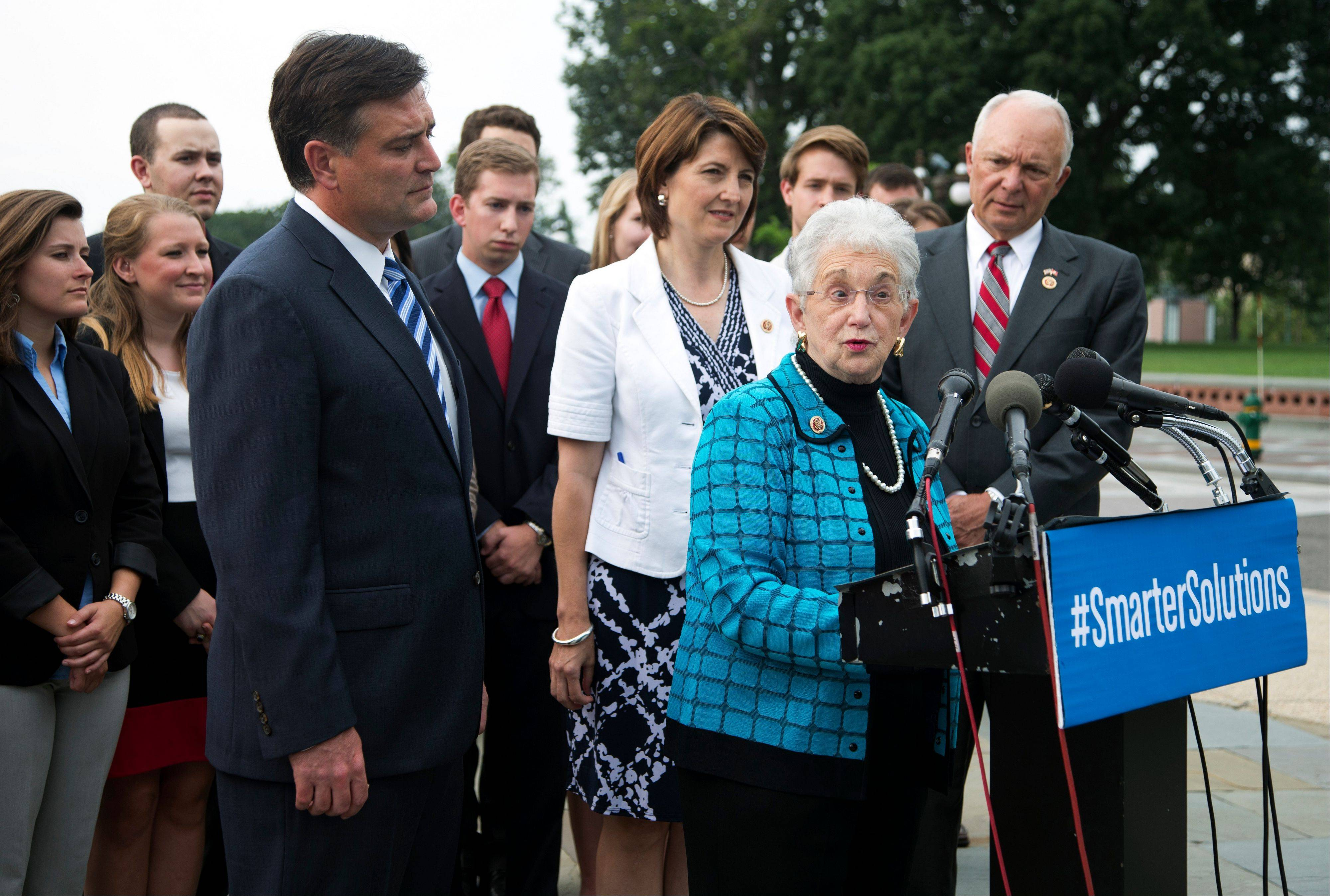 Rep. Virginia Foxx, R-N.C., front right, with Reps. Luke Messer, R-Ind., from left, Cathy McMorris Rodgers, R-Wash., and John Kline, R-Minn., talk about student loans on Capitol Hill in Washington, Wednesday.