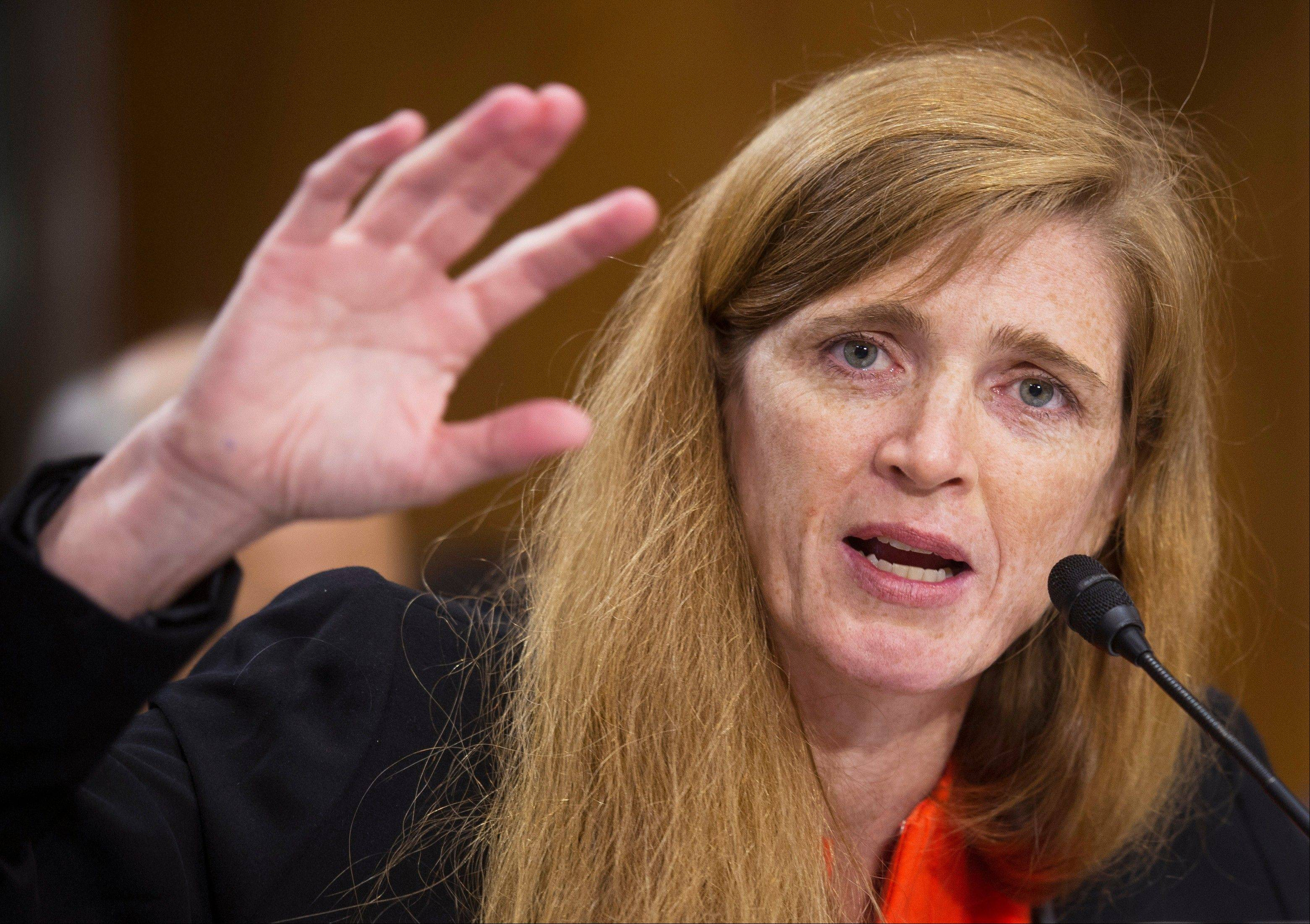 U.S. Ambassador to the U.N. nominee Samantha Power testifies last week on Capitol Hill in Washington.