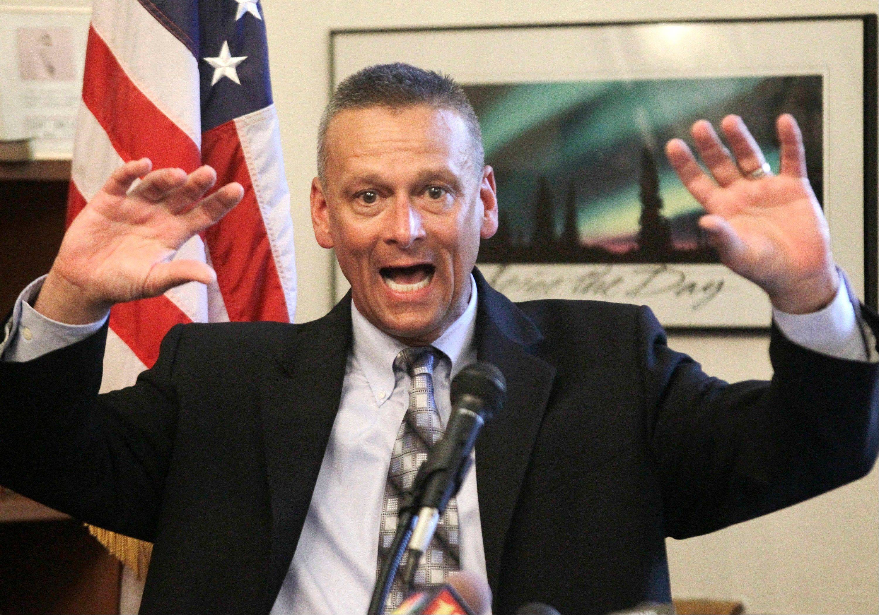 "In this July 10, 2012, file photo, then Indiana school Superintendent Dr. Tony Bennett speaks in Indianapolis. Bennett built his national star by promising to hold ""failing"" schools accountable. But when it appeared an Indianapolis charter school run by a prominent Republican donor might receive a poor grade, Bennett's education team frantically overhauled his signature ""A-F"" school grading system to improve the school's marks from a ""C"" to an ""A""."