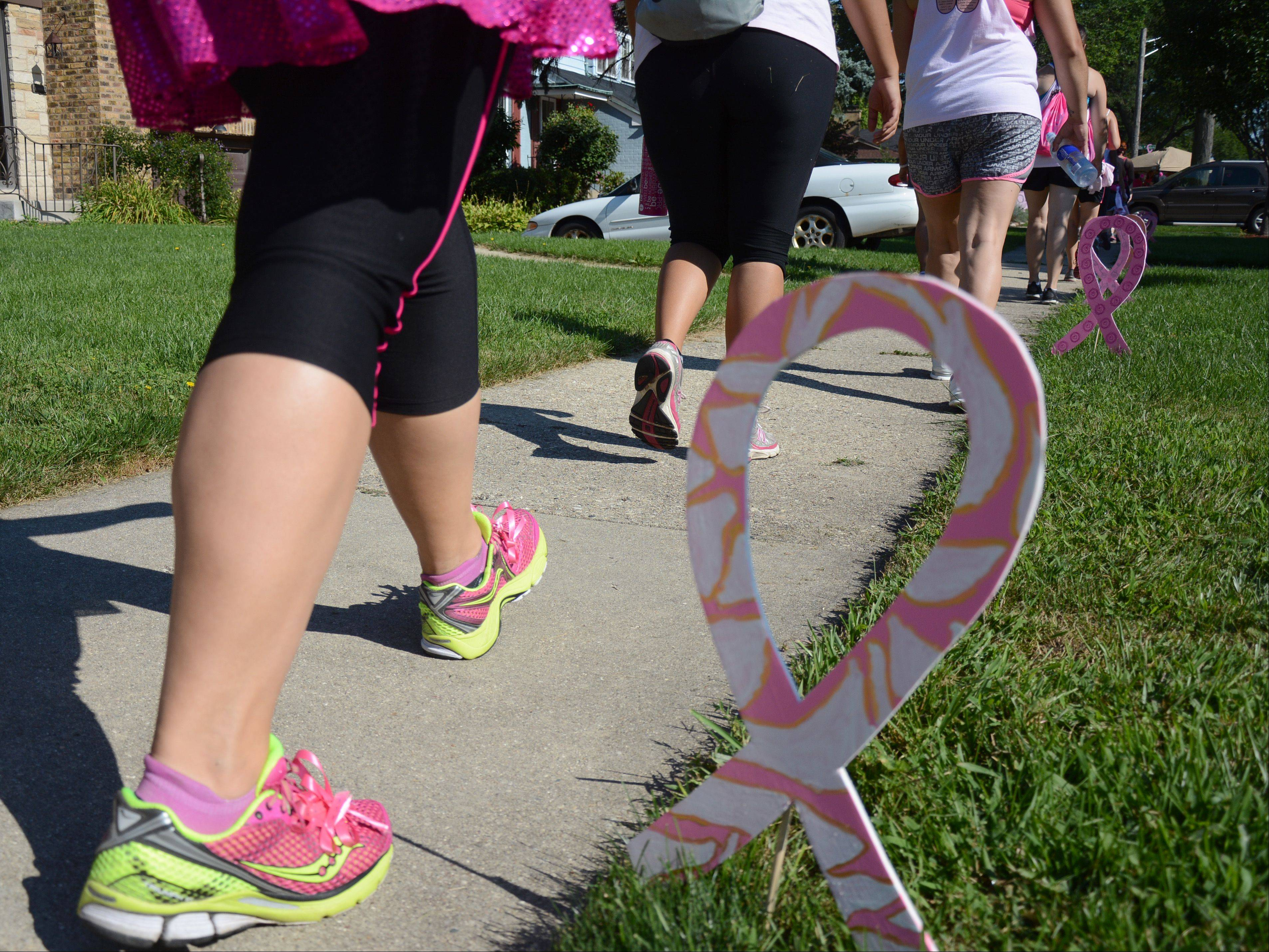 Walkers make their way through Mount Prospect on Saturday during the second day of the Chicago Breast Cancer Komen 3-Day Walk.