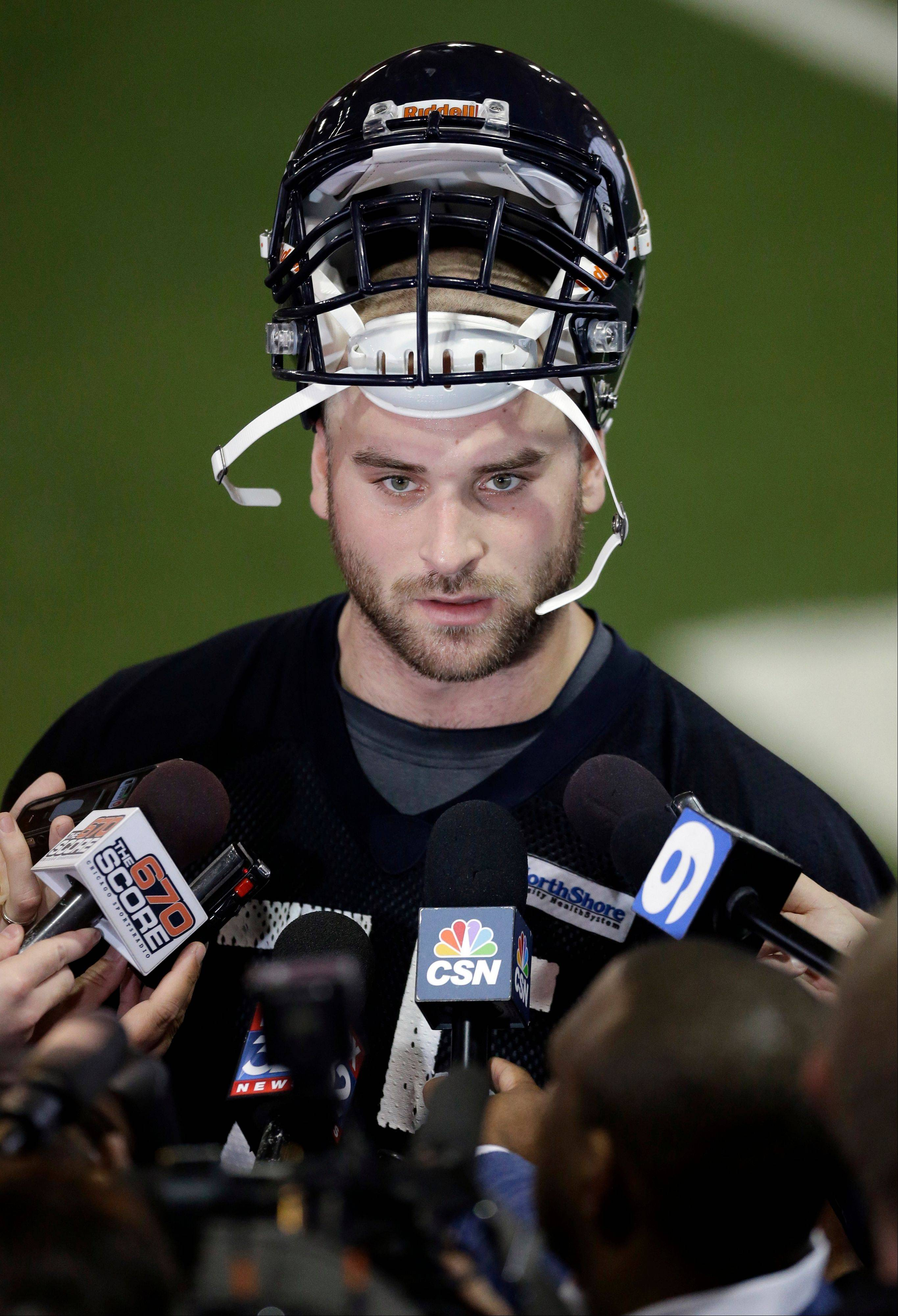 Chicago Bears rookie guard Kyle Long talks to the media.