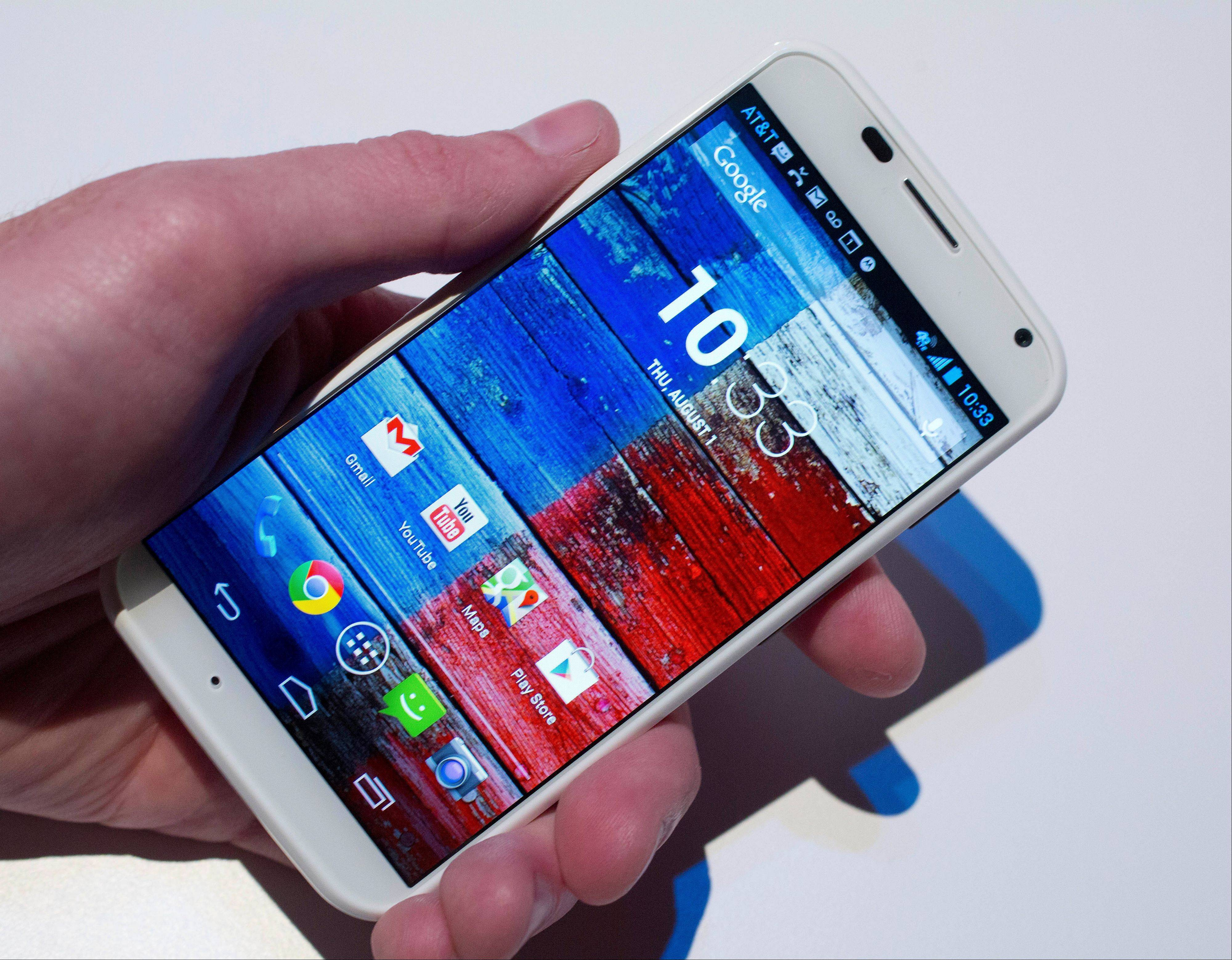 The Motorola Moto X smartphone, using Google's Android software, shown off Thursday at a press preview in New York.