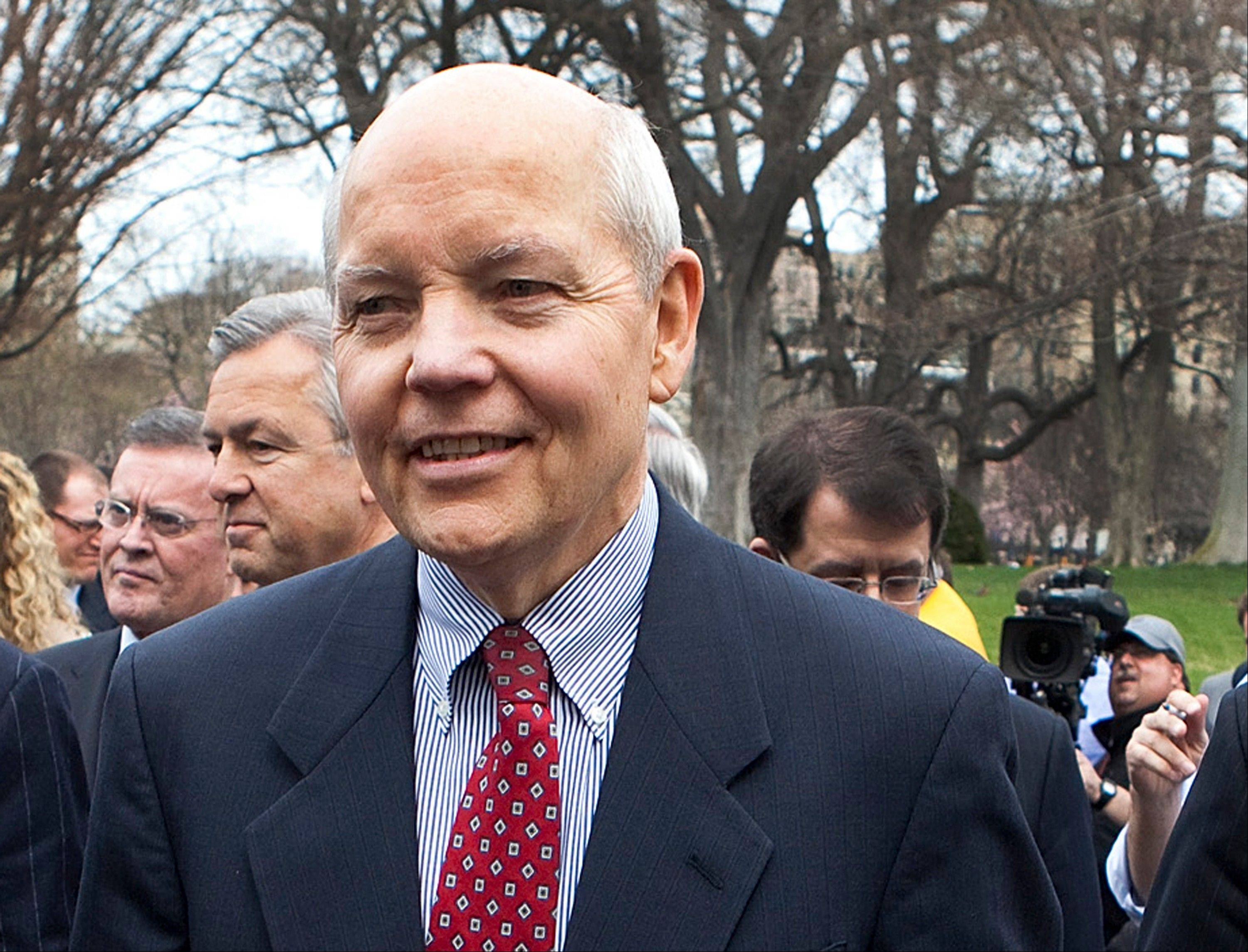 John Koskinen stands outside the White House in Washington. President Barack Obama has nominated Koskinen as Internal Revenue Service commissioner.