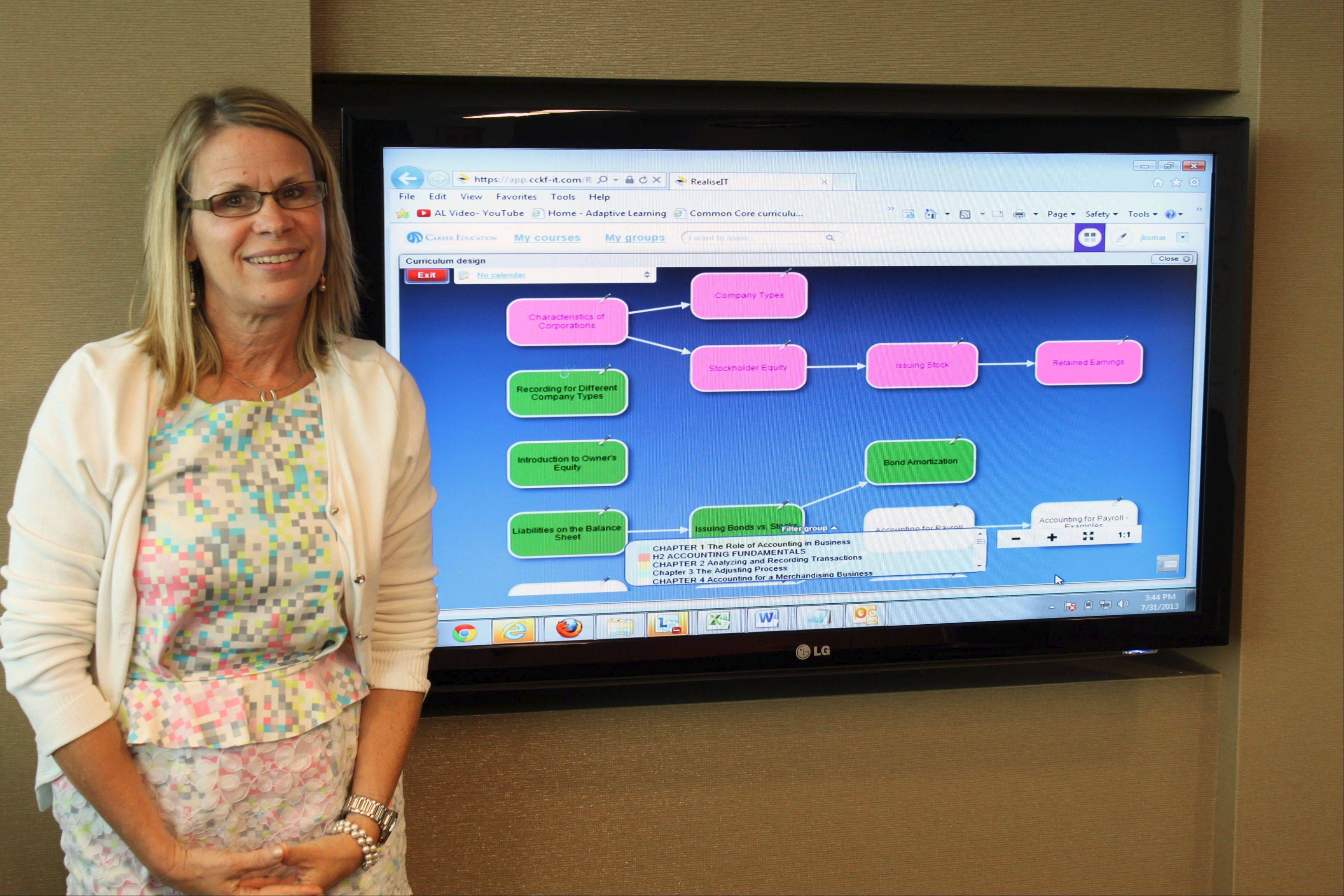 Judy Komar, Career Education vice president of education technology, stands in front of a screen showing a course map using Intellipath, a new platform that helps students taking online courses.