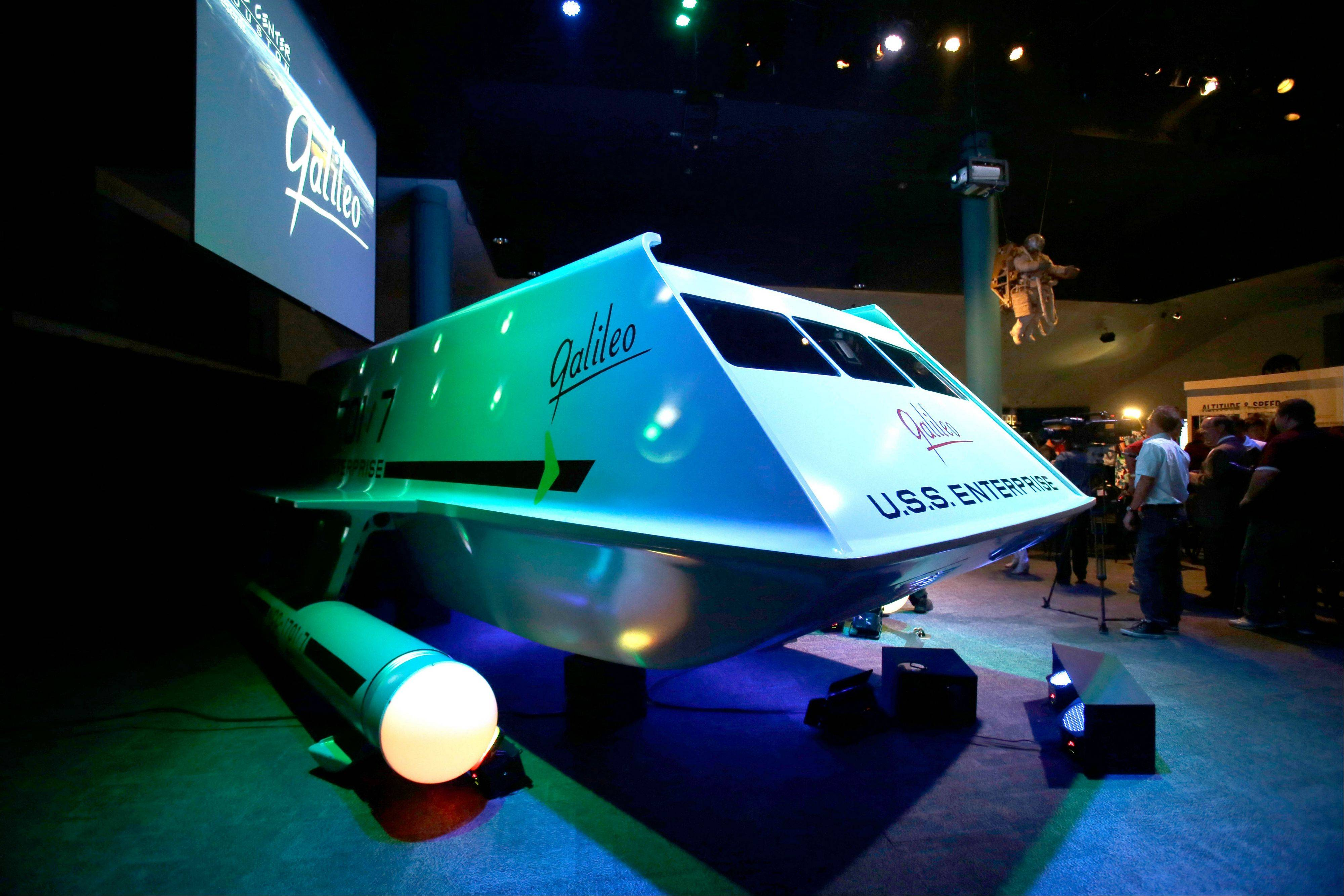 "The restored space shuttle Galileo from the 1960's television show ""Star Trek"" is unveiled at Space Center Houston in Houston."