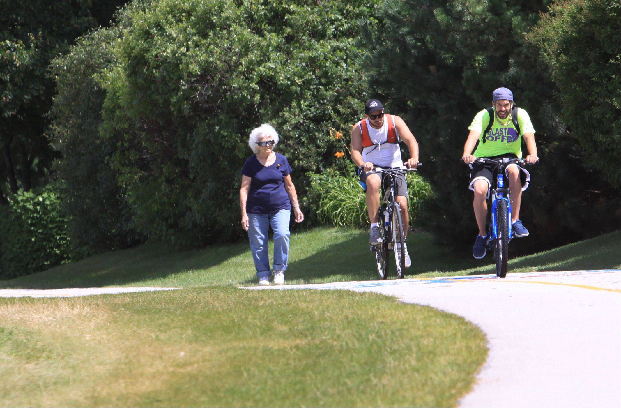 Not everyone has caught on to the new rules at Lake Arlington, including two bicyclists who passed Fran Kay of Elk Grove Village on Thursday, the first day the rules went into effect.