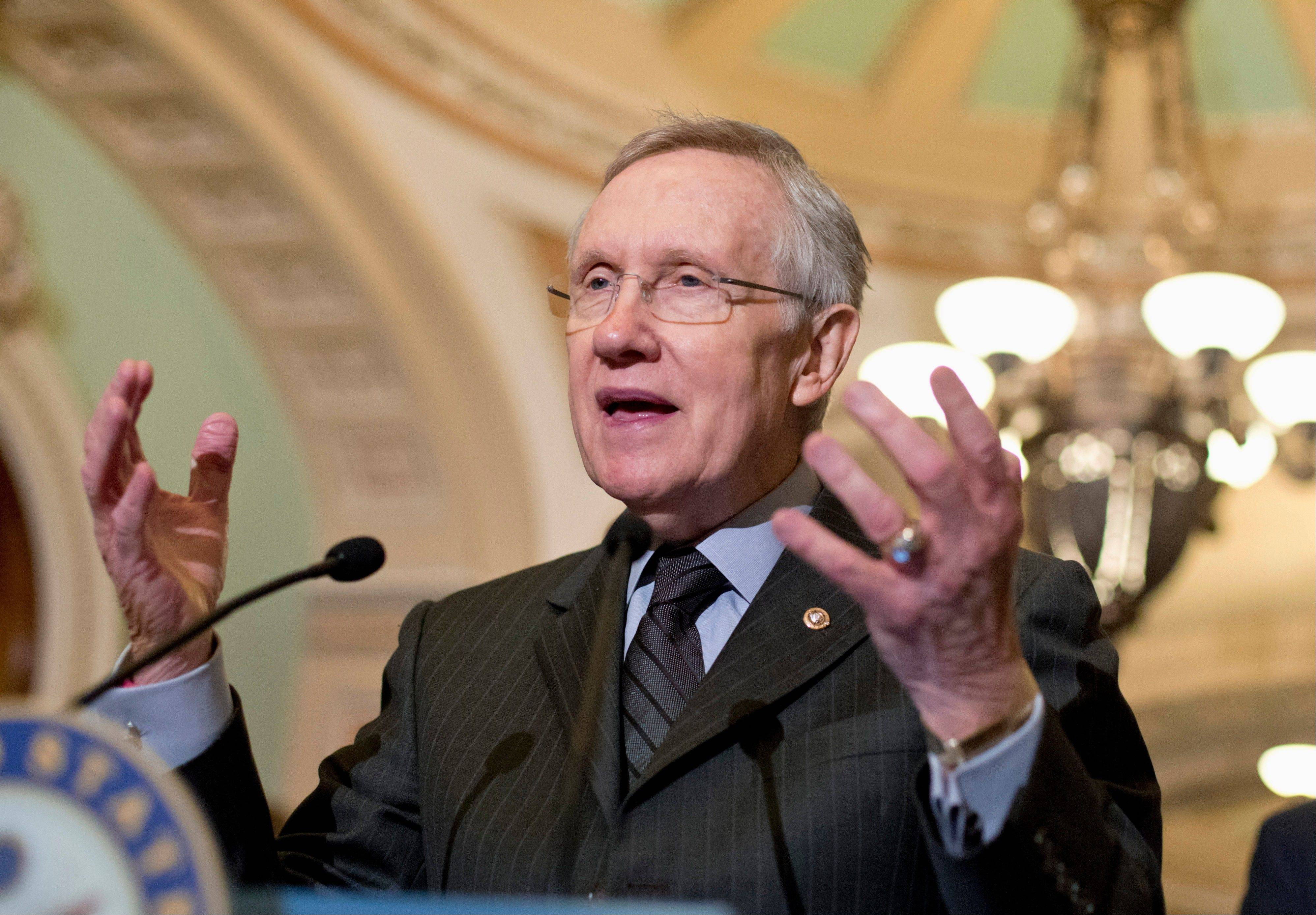 Senate Majority Leader Harry Reid of Nevada speaks Tuesday with reporters on Capitol Hill in Washington.