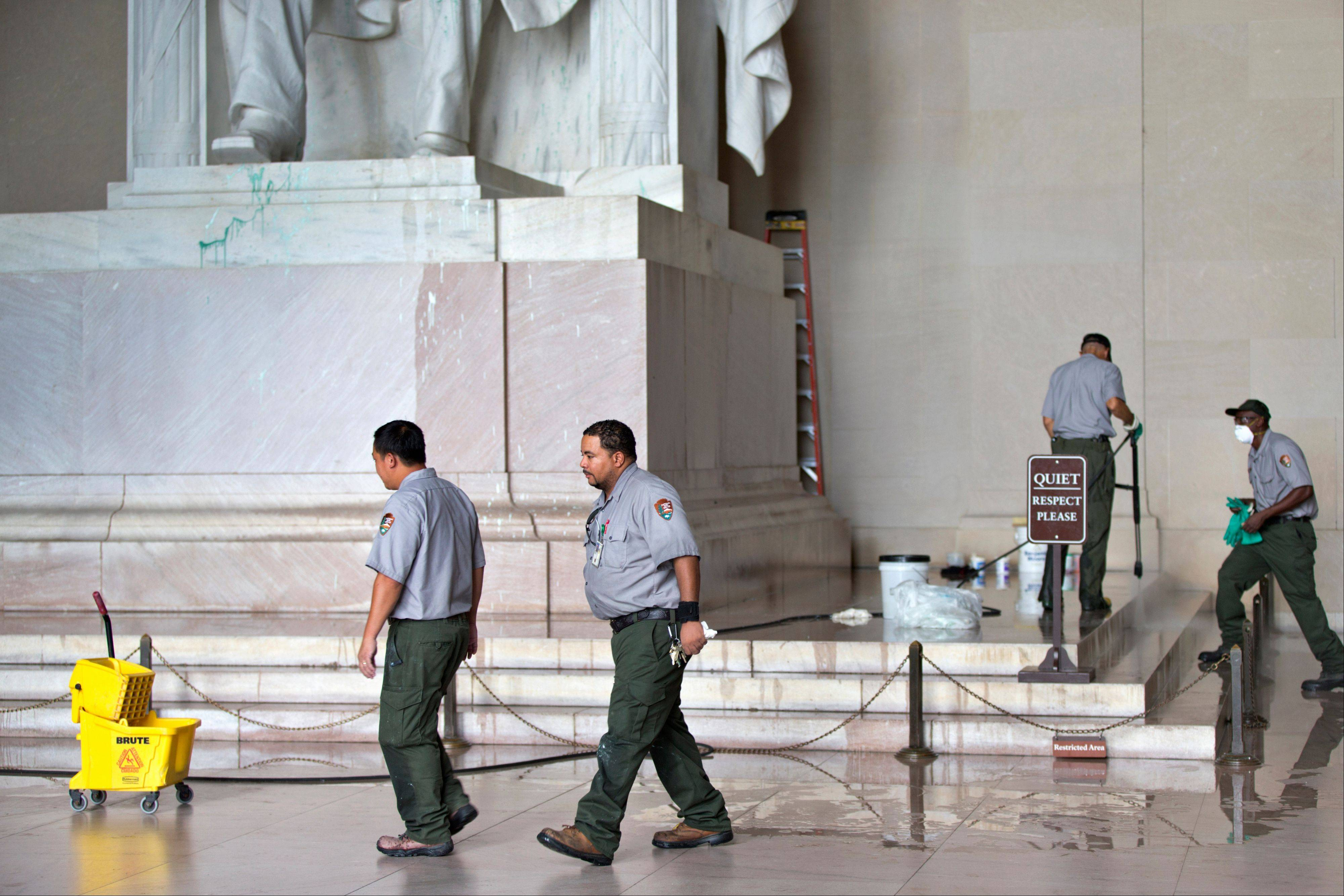 National Park Service workers clean the Lincoln Memorial in Washington last week.