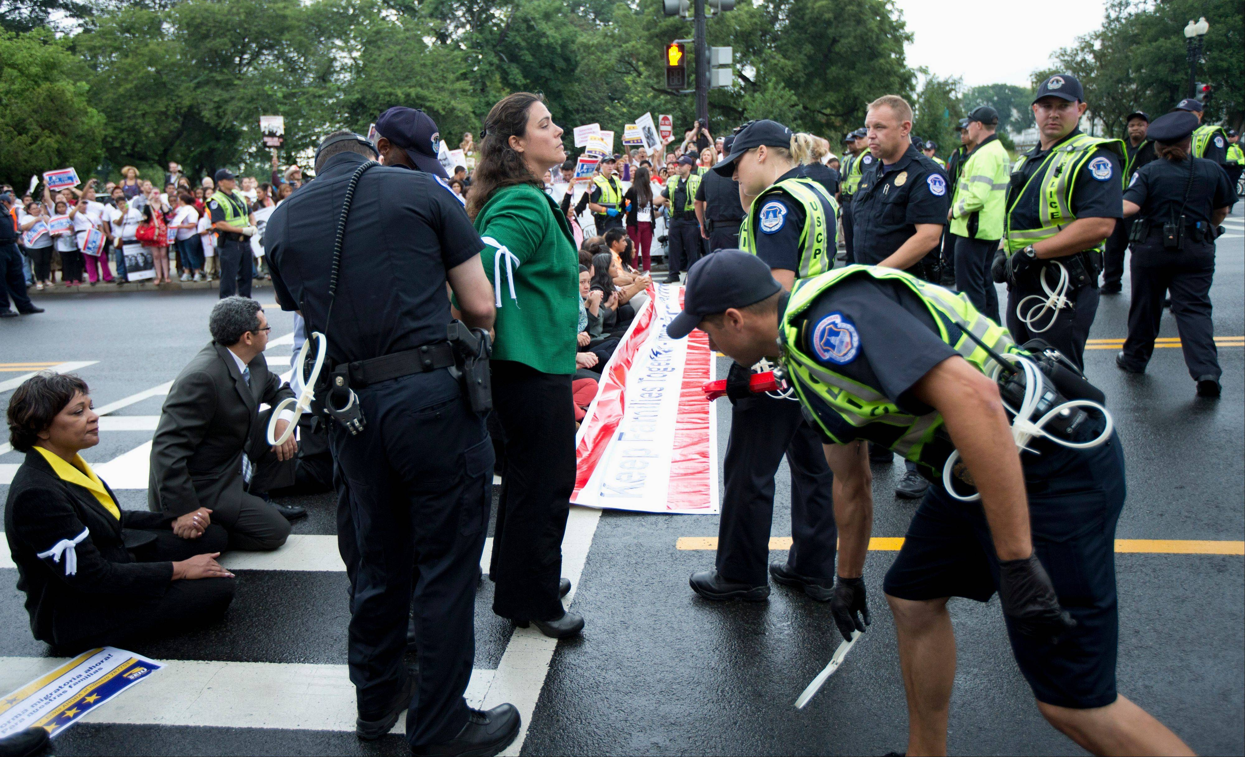 Capitol Hill police officers arrest immigration reform protesters as they blocked a street on Capitol Hill in Washington, Thursday, Aug. 1, 2013.