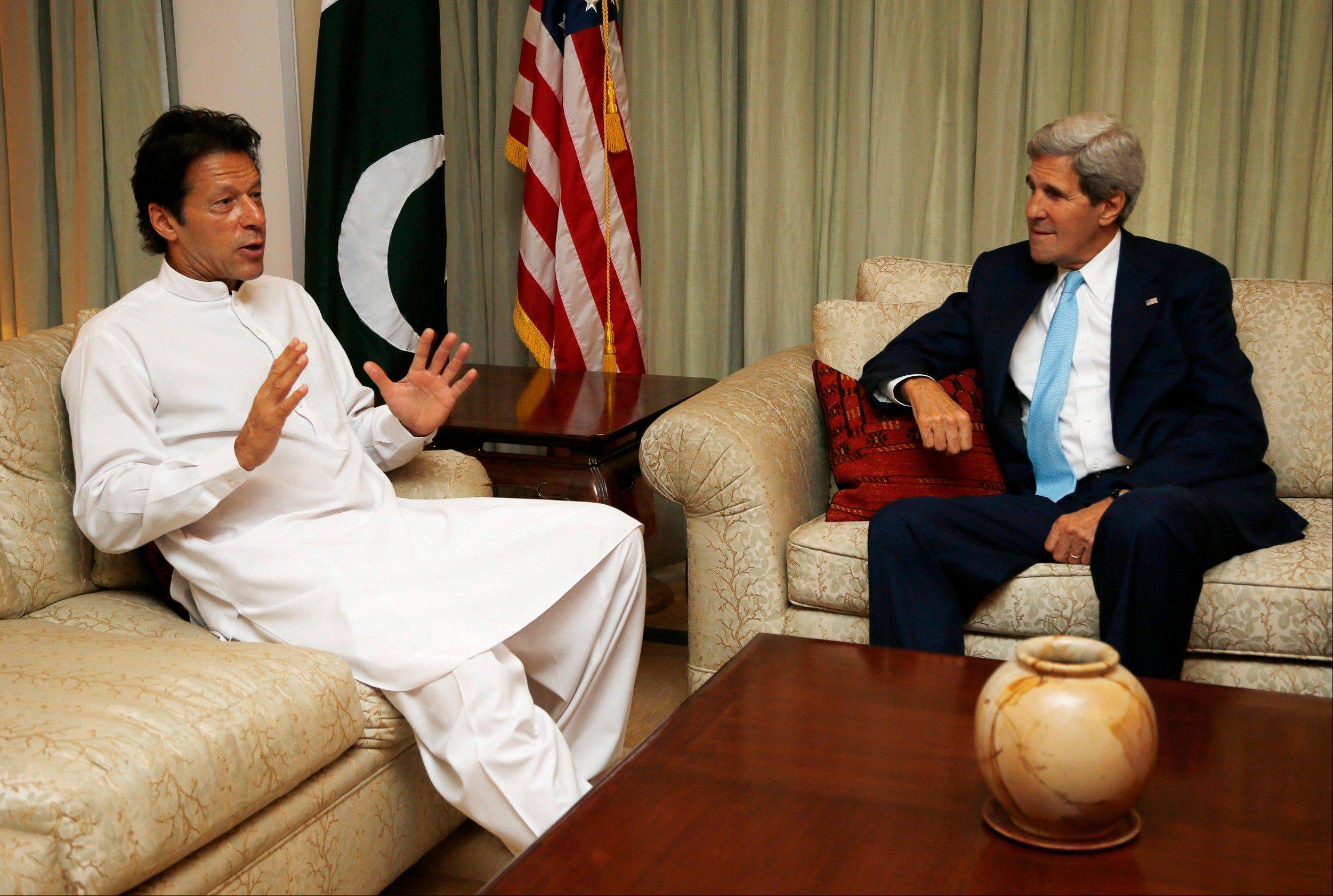 "Secretary of State John Kerry meets with Pakistan's opposition leader Imran Khan in Islamabad, Pakistan, Thursday, Aug. 1, 2013. Kerry said the resumption of security talks will cover ""all of the key issues between us, from border management to counterterrorism to promoting U.S. private investment and to Pakistan's own journey to economic revitalization."""