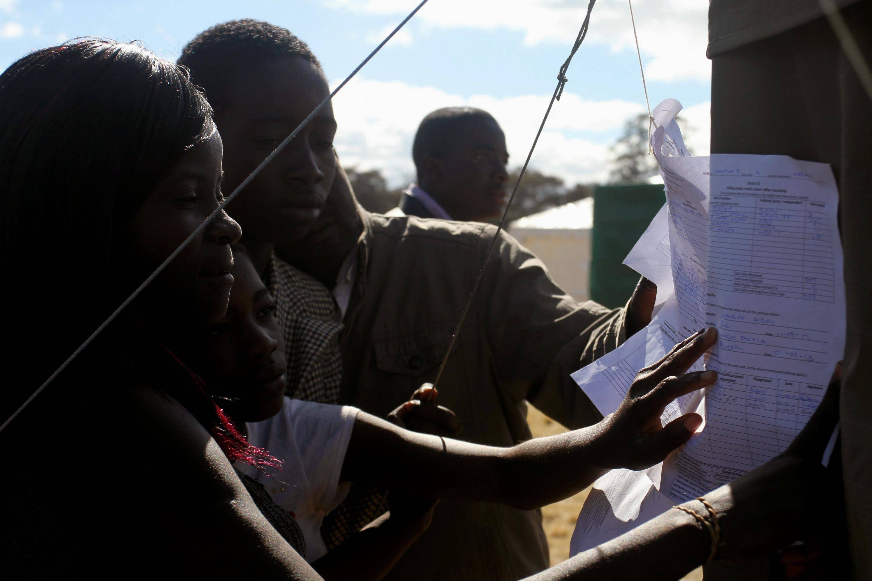 Voters look at posted results outside a polling station in Harare Thursday, Aug. 1, 2013 President Robert Mugabe's ZANU PF party said Thursday, that it has withdrawn an unauthorized message on its Twitter feed claiming a resounding victory in the country's national elections.
