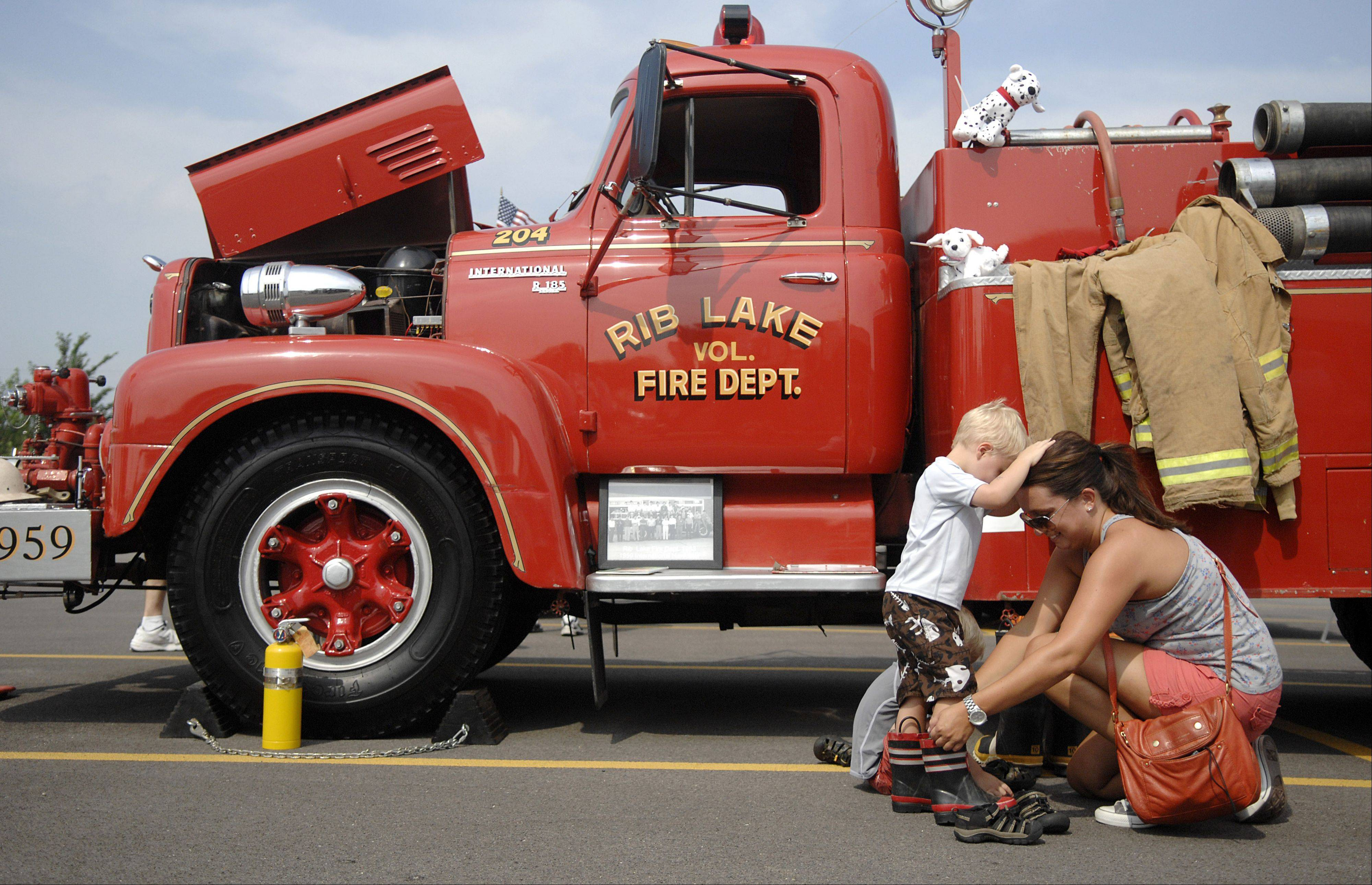 Like they did last year, kids can try on some mini fireman boots and check out the emergency vehicles on display 10 a.m. to 4 p.m. Saturday at Pentair Water and Oberweis Dairy near I-88 and Randall Road during North Aurora Days, a weekend-long festival starting Friday.