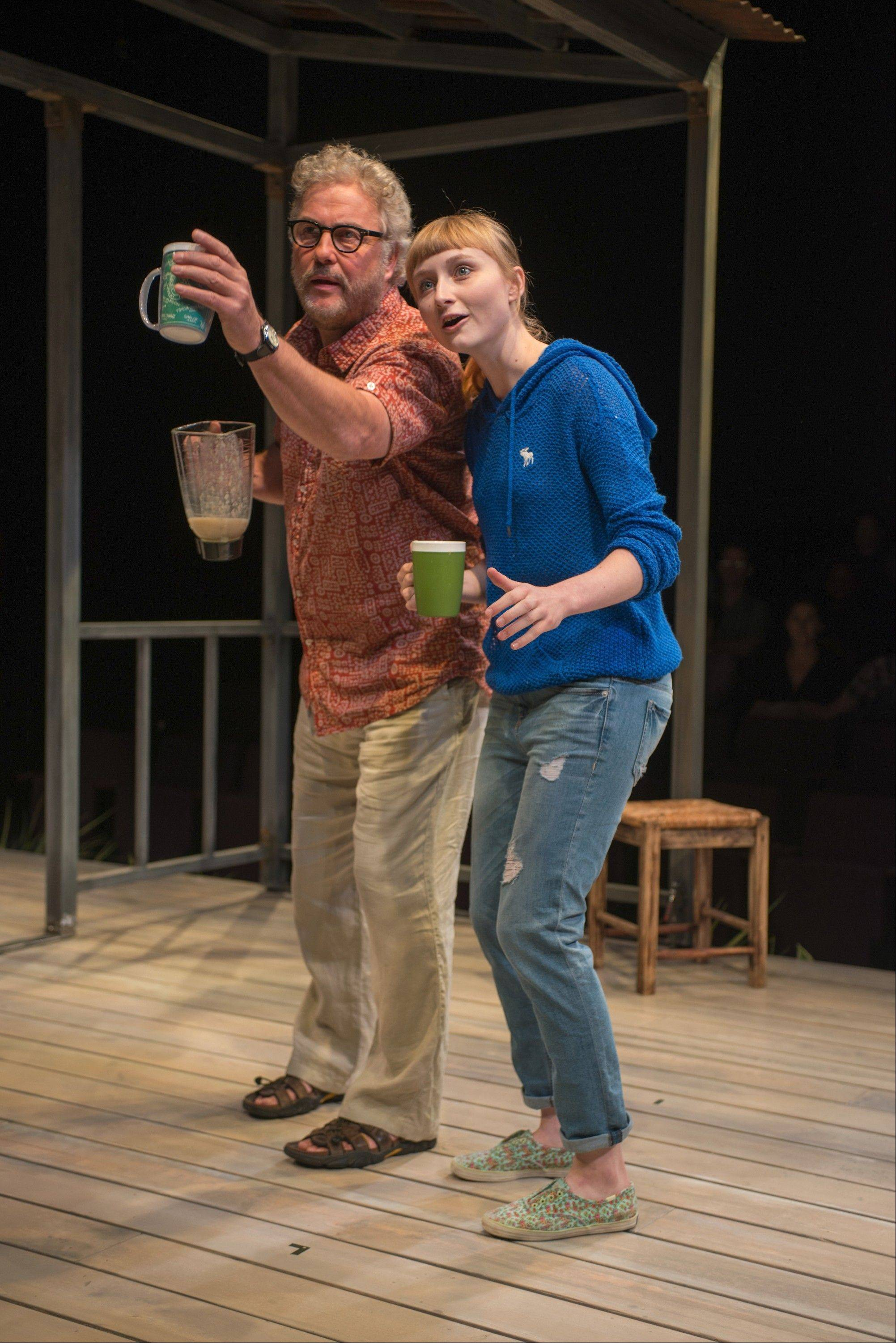 "Sterling (William Petersen) serves up smoothies and insights about his Costa Rican home to his visiting niece, Becky (Rae Gray), in Steppenwolf Theatre Company's regional premiere of Greg Pierce's 2012 off-Broadway drama ""Slowgirl."" The production runs through Sunday, Aug. 25."