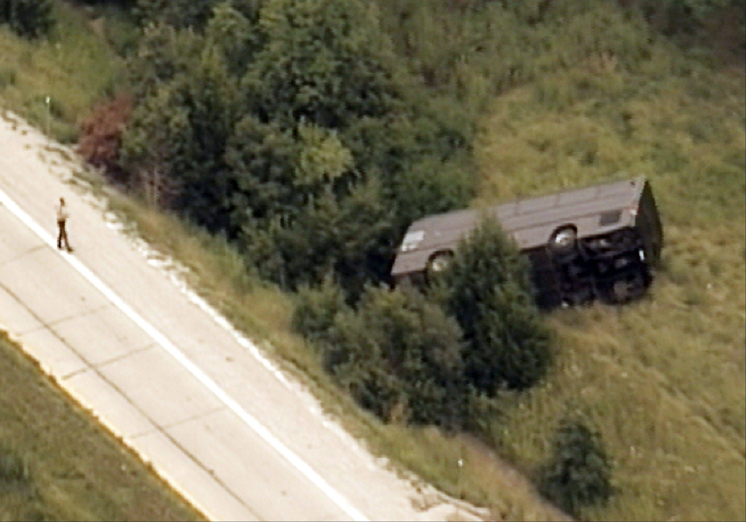 An overturned charter bus on Interstate 70 near Danville, Mo.