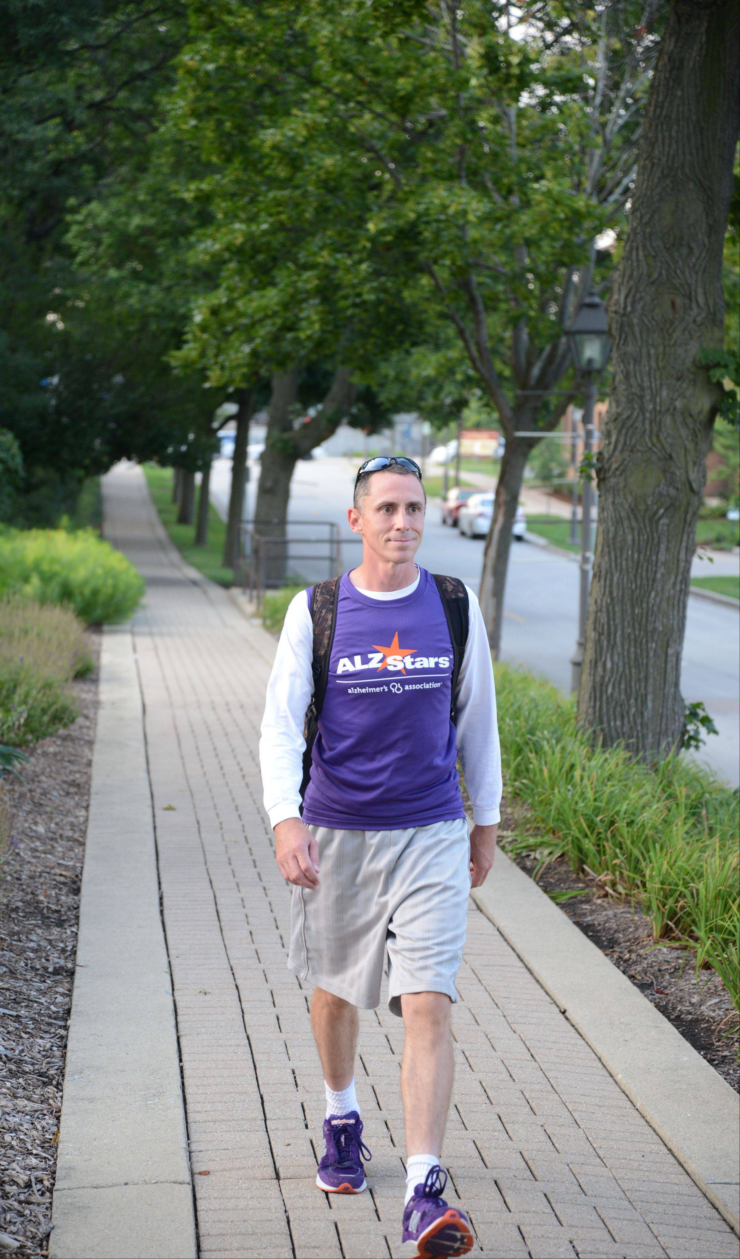 William Glass of Lombard begins a 750-mile walking trek Monday to Atlanta, Ga., to raise funds for Alzheimer's research and tell as many people as he can about the disease's devastating effects and societal costs. Glass will walk the entire journey without a support van, carrying a 25-pound backpack with camping gear and everything he needs.