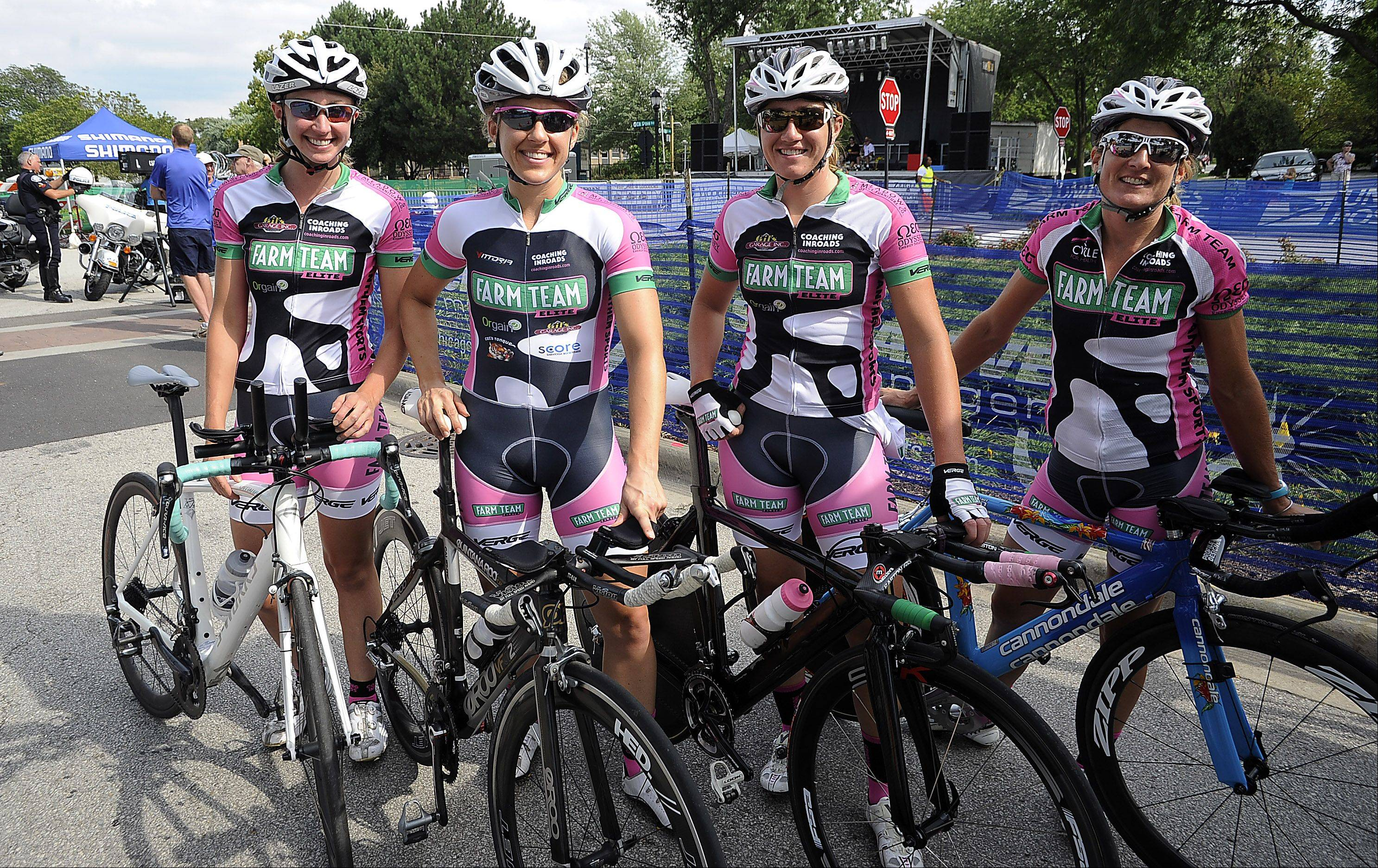 Kate Lysakowski, 29, of Boston, Raquel Miller, 31, of New York City with Jenny Ives, 28, also of New York, and Beth Ruiz, 39, of New York represent team Farm Team Elite in the 2013 Alexian Brothers Tour of Elk Grove Mayor Set Charity Race time trials on day one of the three-day event.
