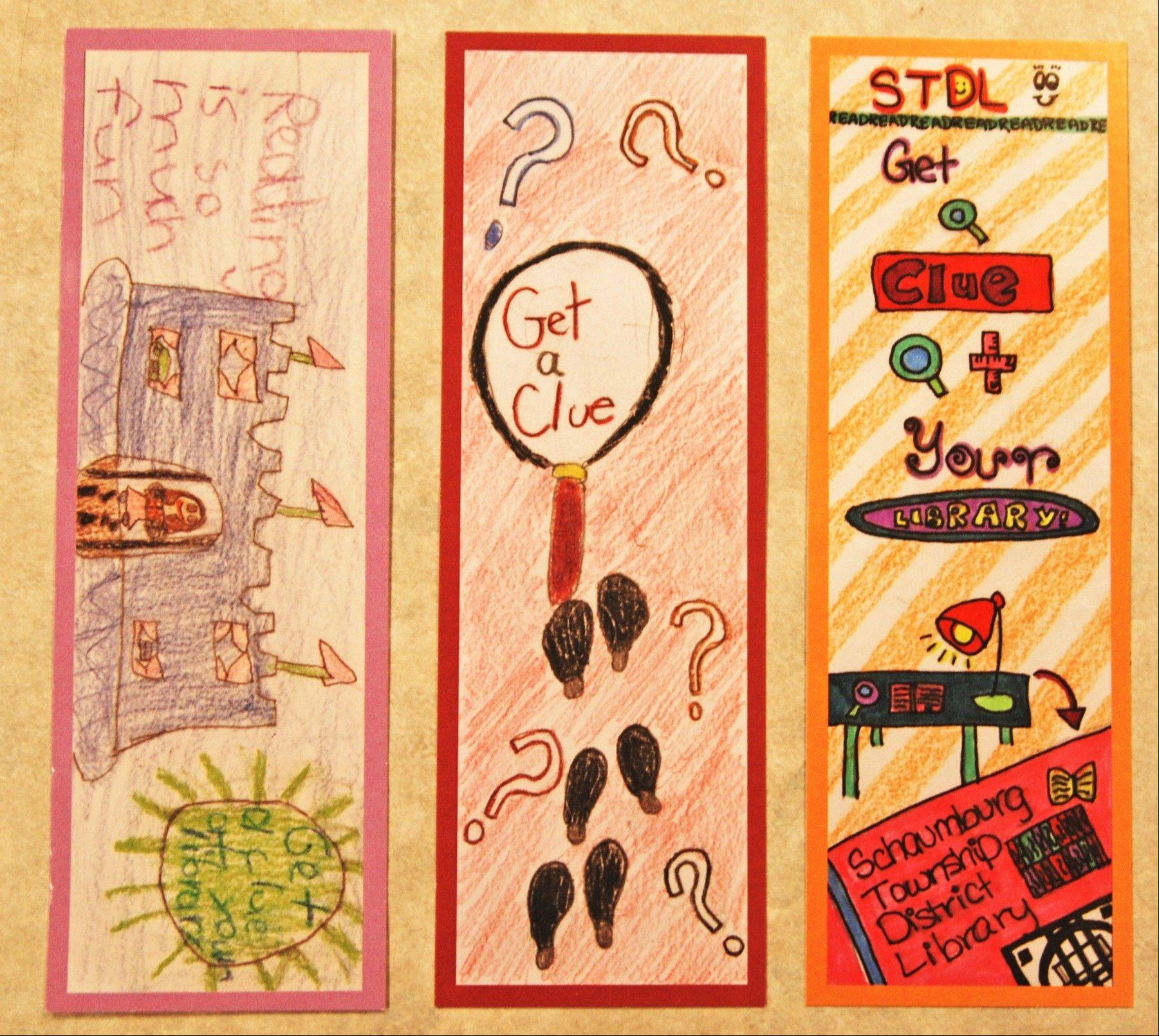 "The winning designs in the ""Mystery Bookmark Design Contest"" hosted by the Schaumburg Township District Library."