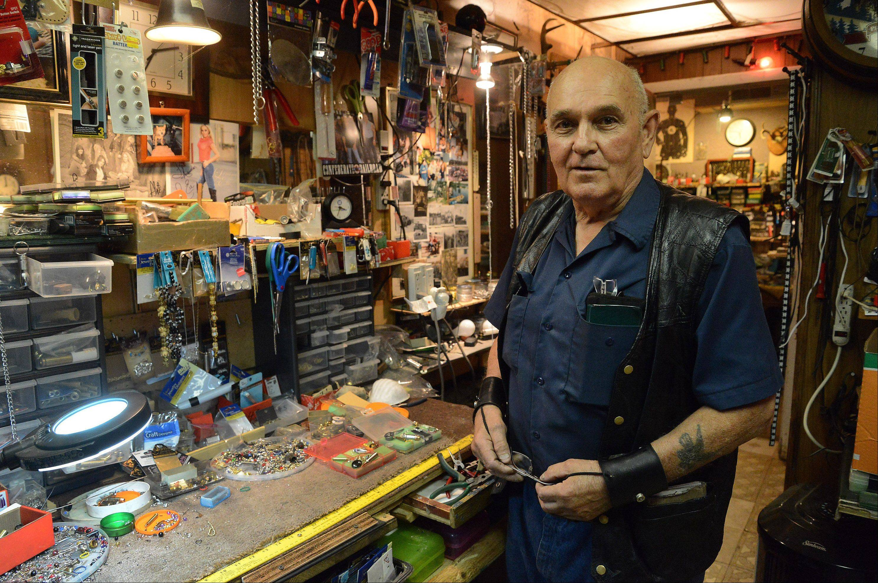 Tony Farina works in his Mundelein basement workshop.
