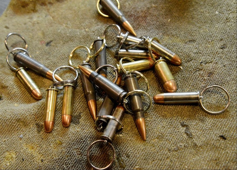 Some of the bullet key rings that Tony gives away.