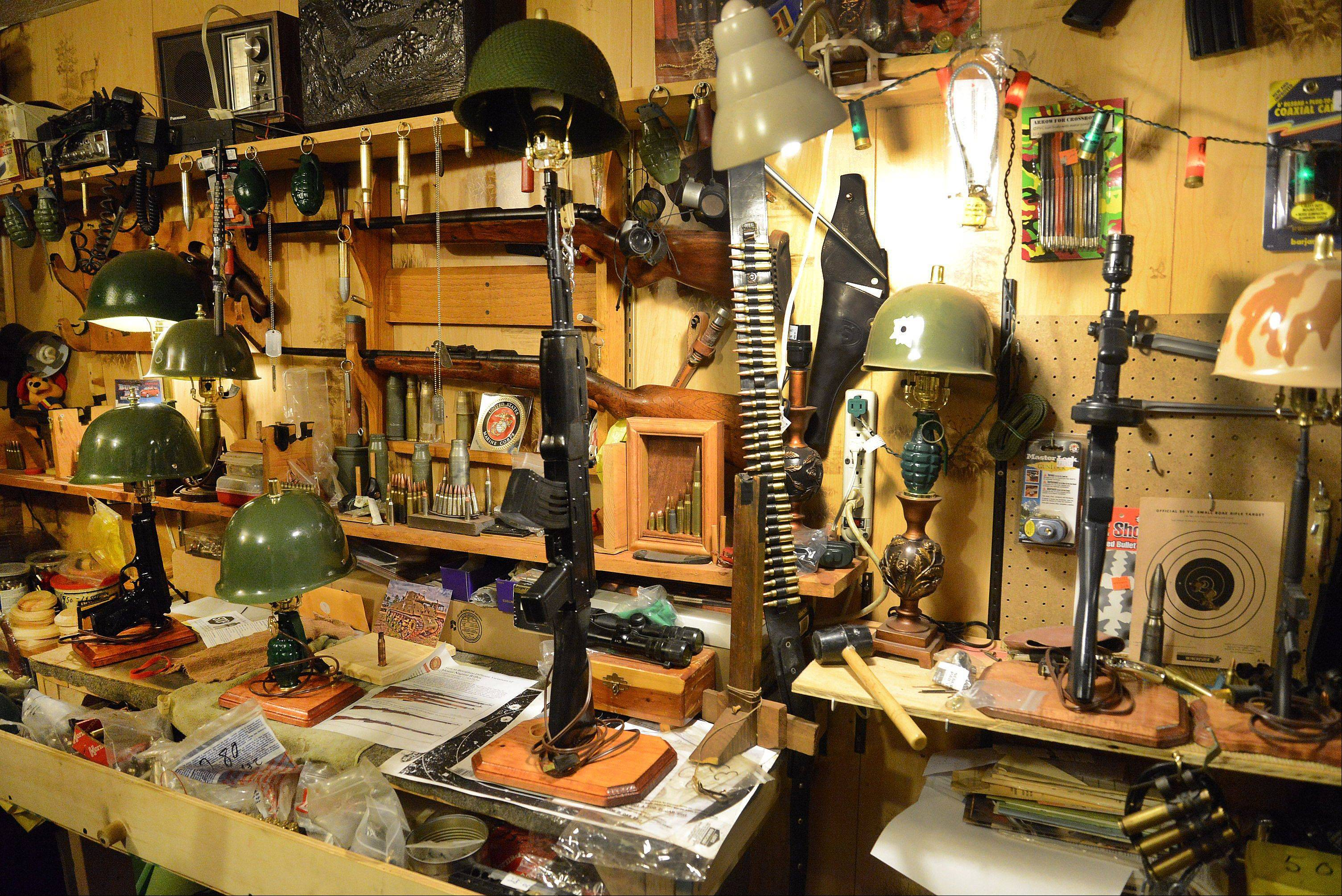 Some of Tony's work on display in his Mundelein basement workshop.