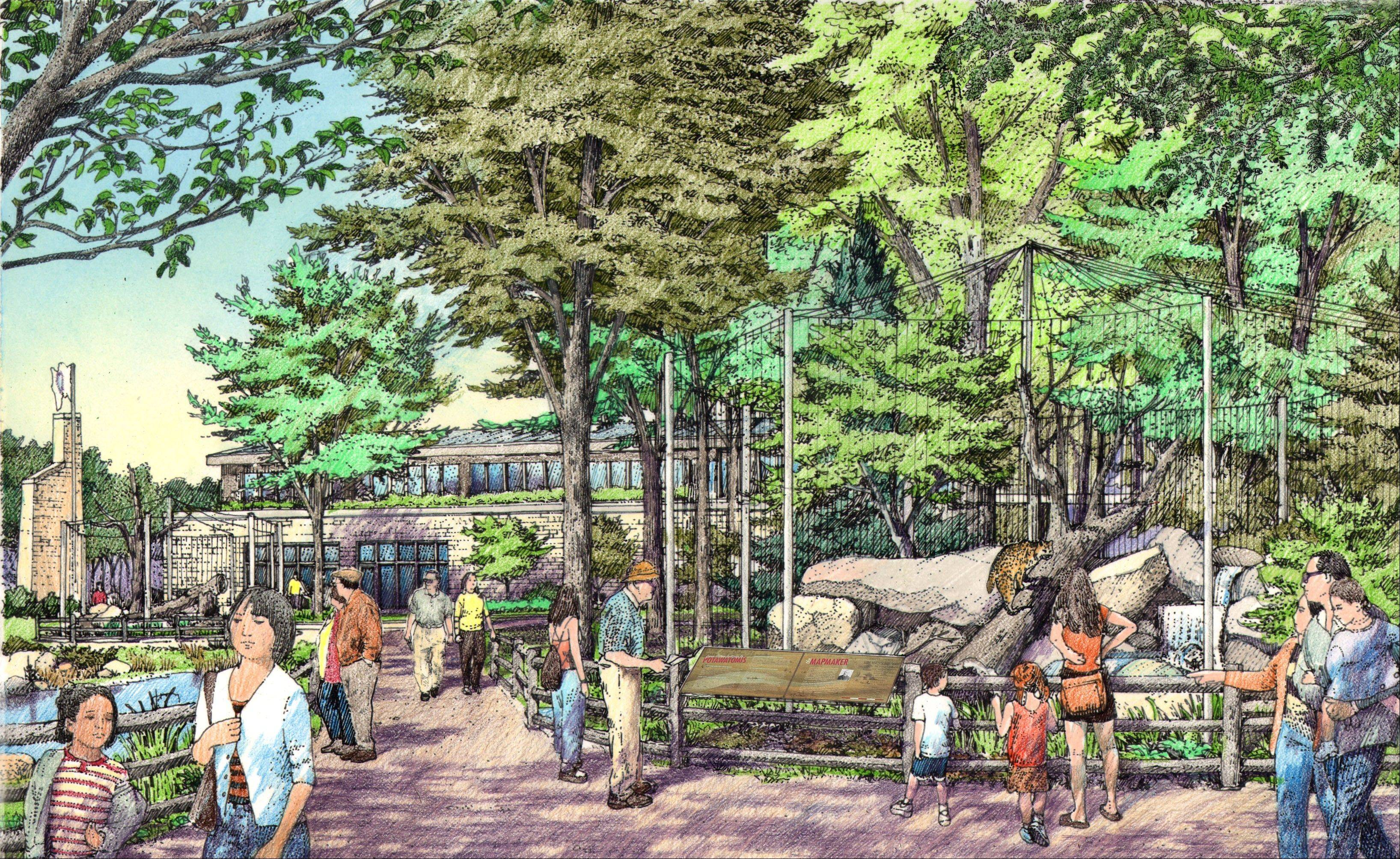 A new outdoor exhibit area is planned for the third phase of renovations at the Willowbrook Wildlife Center in Glen Ellyn.