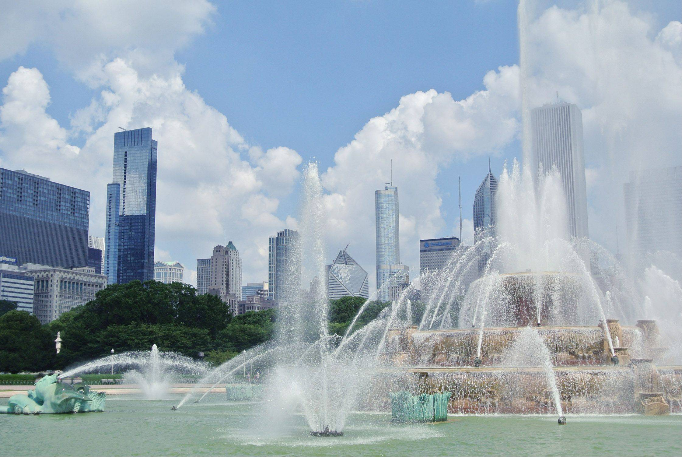 Buckingham Fountain looks refreshing against the downtown Chicago skyline on one of the hottest days of the summer.