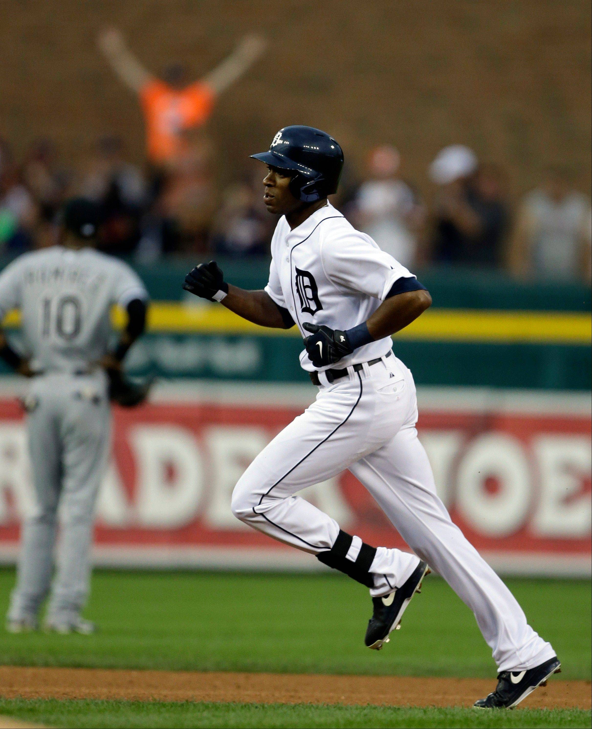 Detroit Tigers' Austin Jackson rounds second base after his solo home run during the fifth inning of a baseball game against the Chicago White Sox in Detroit, Friday.