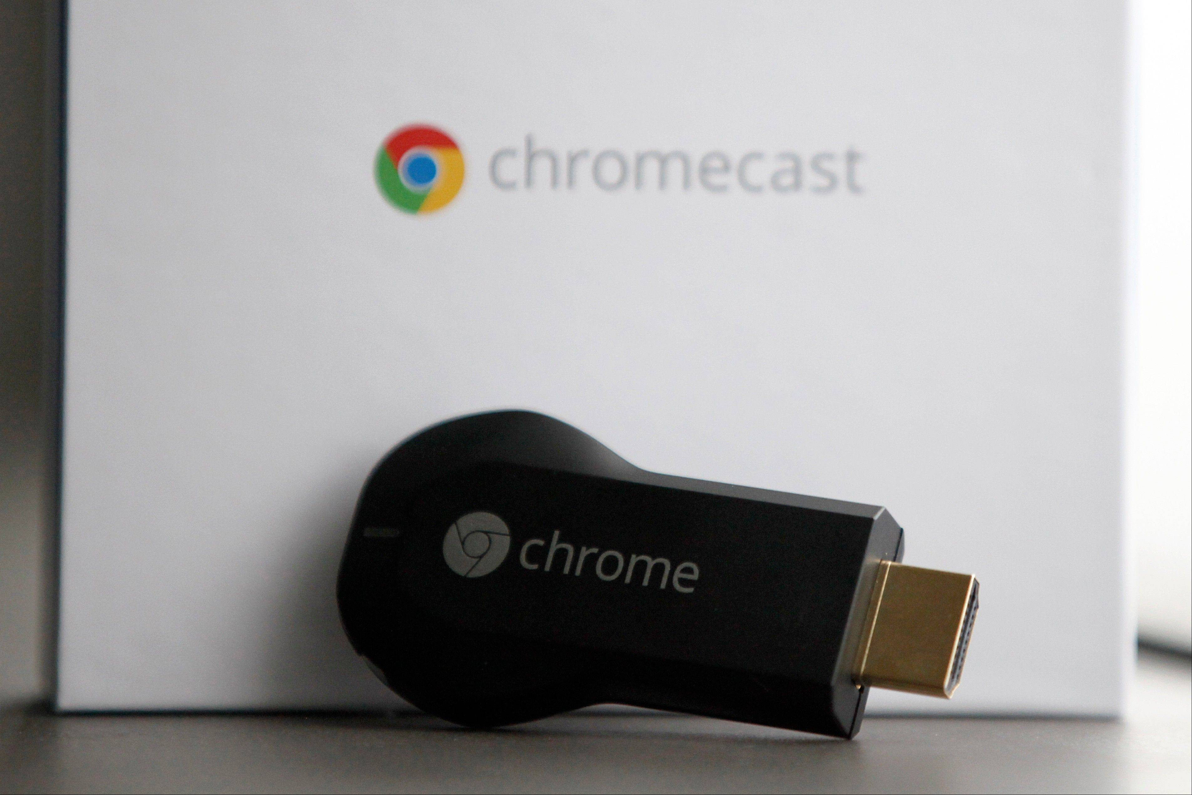 Google's Chromecast, a small device that works wirelessly to stream video and music to a high-definition TV, is controlled by a smartphone or tablet computer and lets the user connect and view content from services like YouTube and Netflix via Wi-Fi.