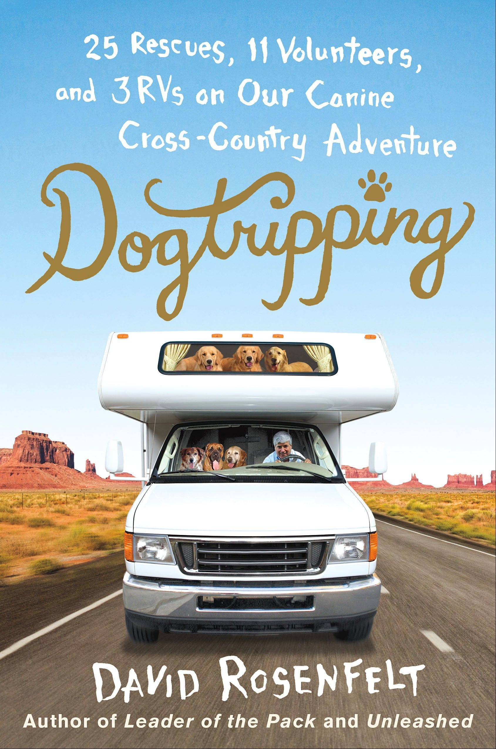 "This book cover image released by St. Martin's Press shows ""Dogtripping: 25 Rescues, 11 Volunteers and 3 RVs on Our Canine Cross-Country Adventure,"" by David Rosenfelt."