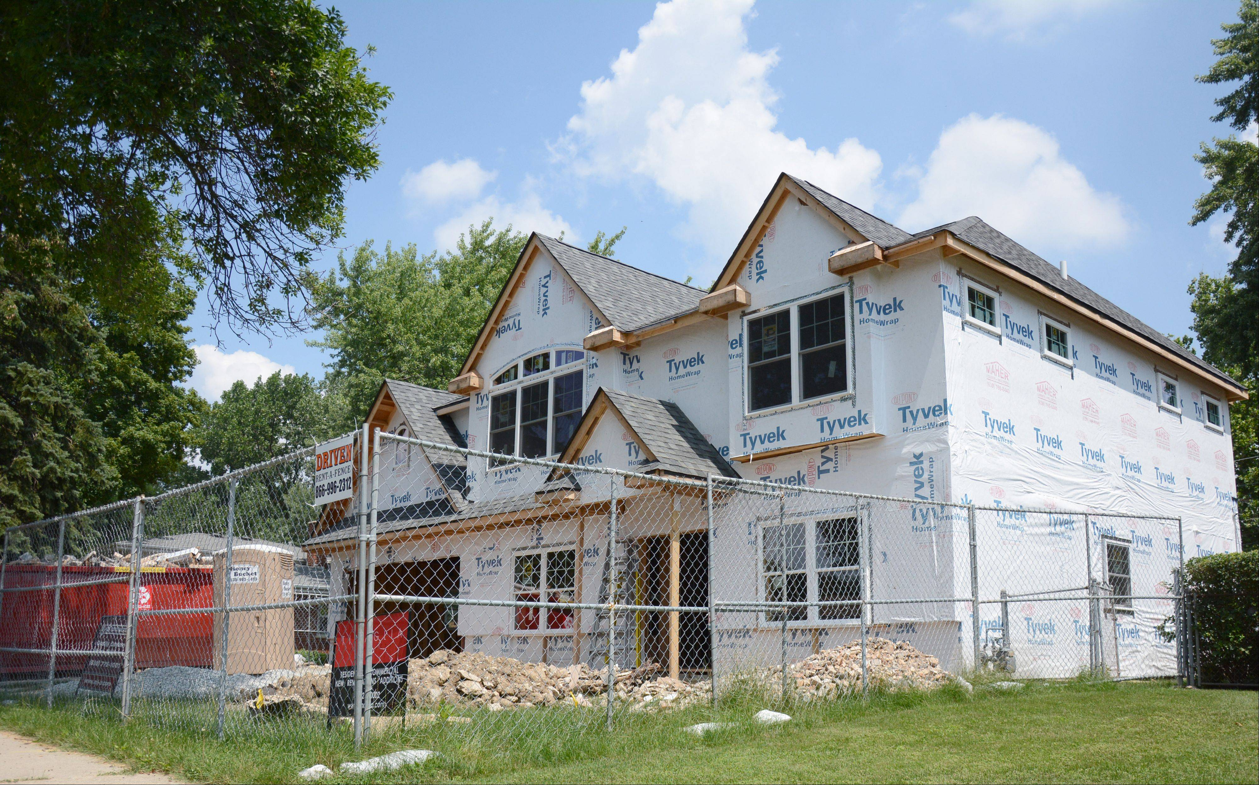 A new home is under construction at 1007 N. Wilshire Lane in Arlington Heights.