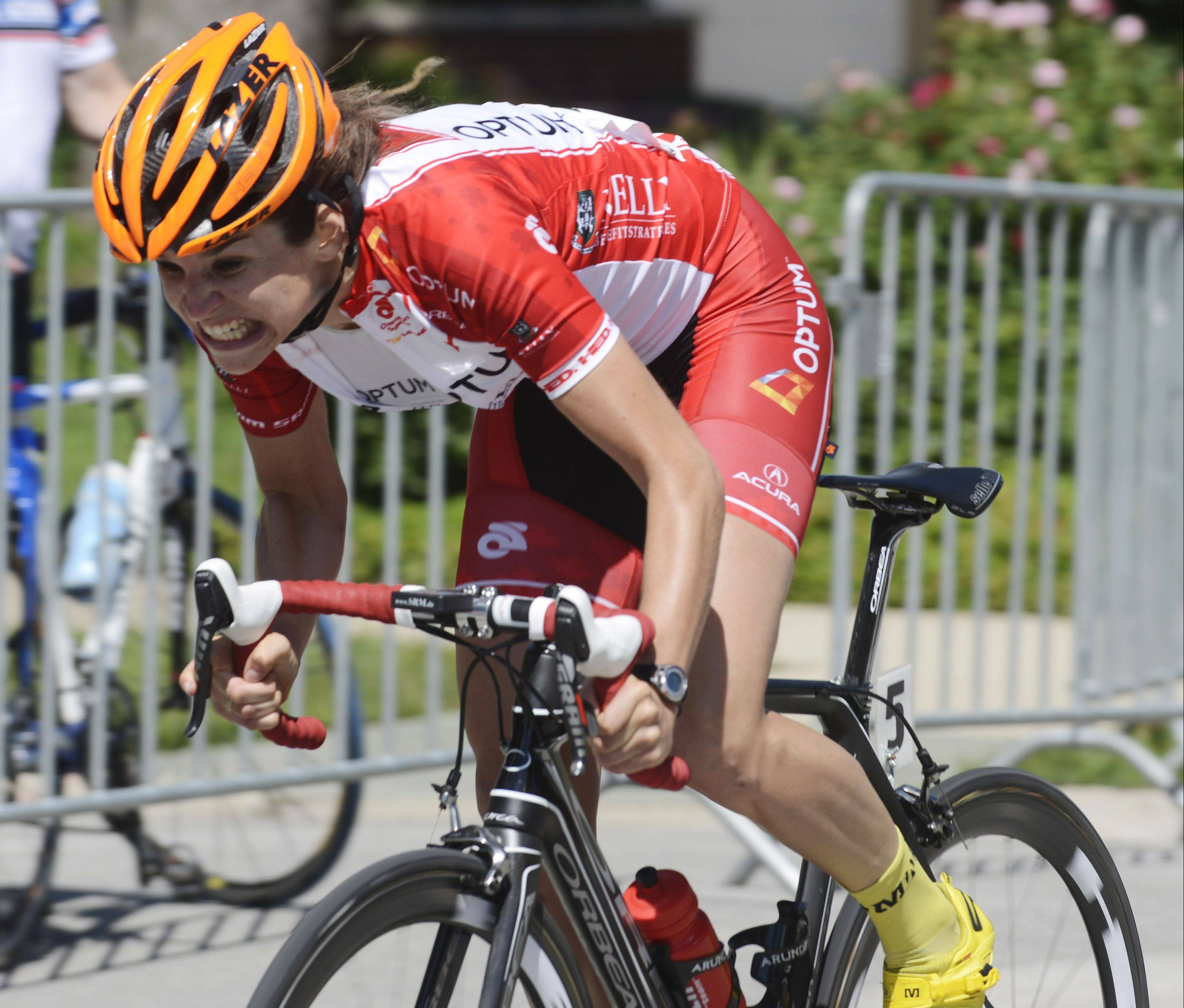 Eventual winner Joelle Numainville grits her teeth while competing Saturday in Stage 2 of the women's pro three-day, three-stage race, a 45.3-mile criterium, at of the Tour of Elk Grove.