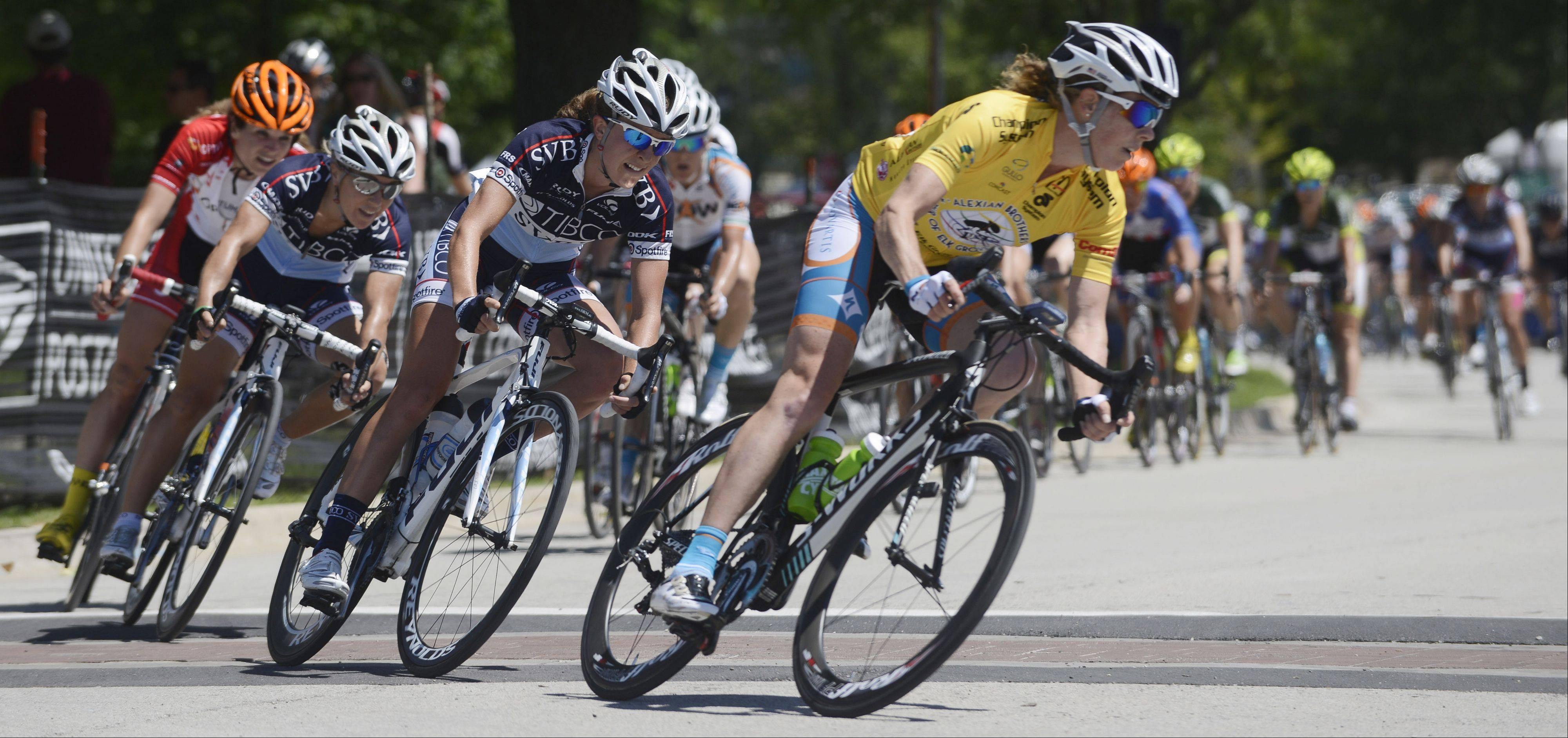 Nearly 60 riders compete in stage two of the women's pro three-day, three stage race, a 45.3-mile criterium, of the Tour of Elk Grove Saturday.