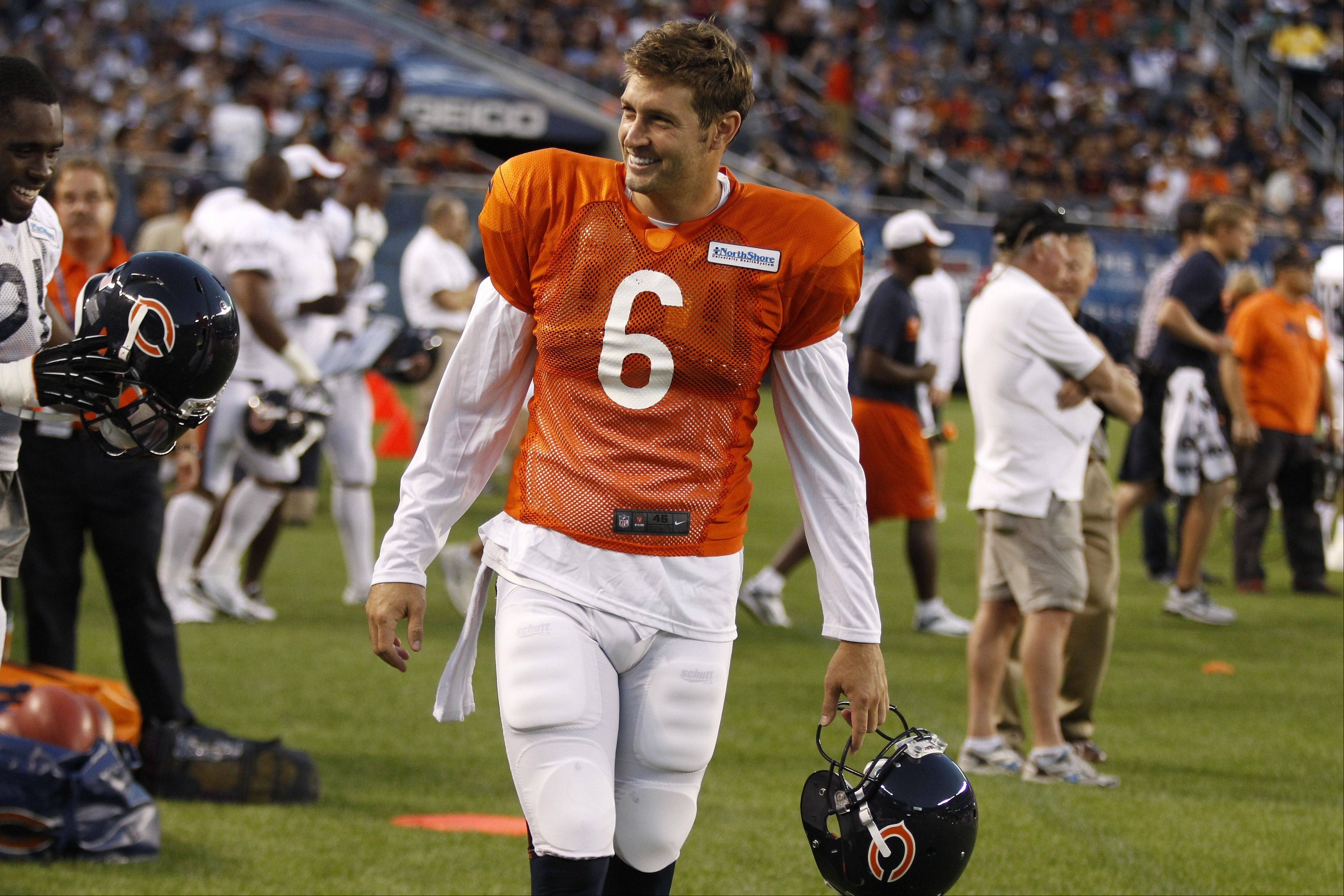 Chicago Bears quarterback Jay Cutler during NFL football training camp at Soldier Field in Chicago, Saturday, Aug 3, 2013.